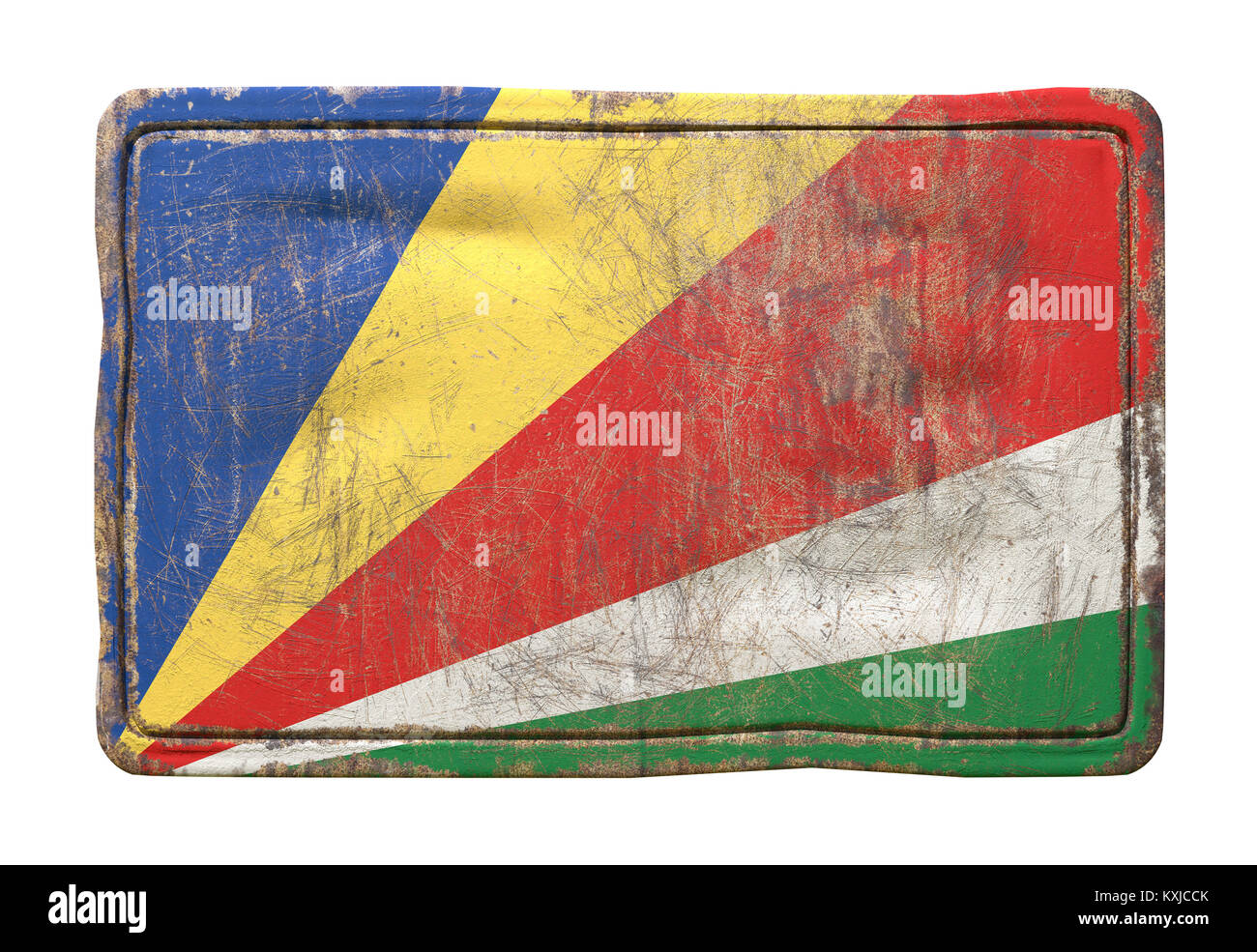 3d rendering of a Republic of Seychelles flag over a rusty metallic plate. Isolated on white background. - Stock Image