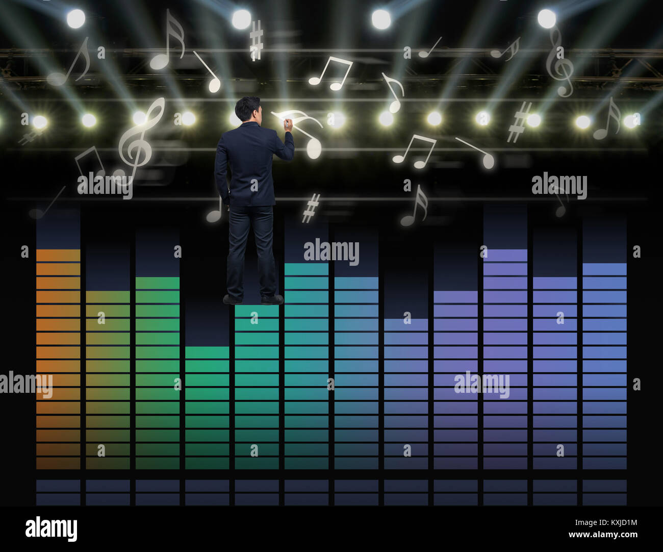 Radio Waves Diagram Stock Photos Images Businessman Standing Over The Sound Equalizer And Drawing Music Note On Dark Background