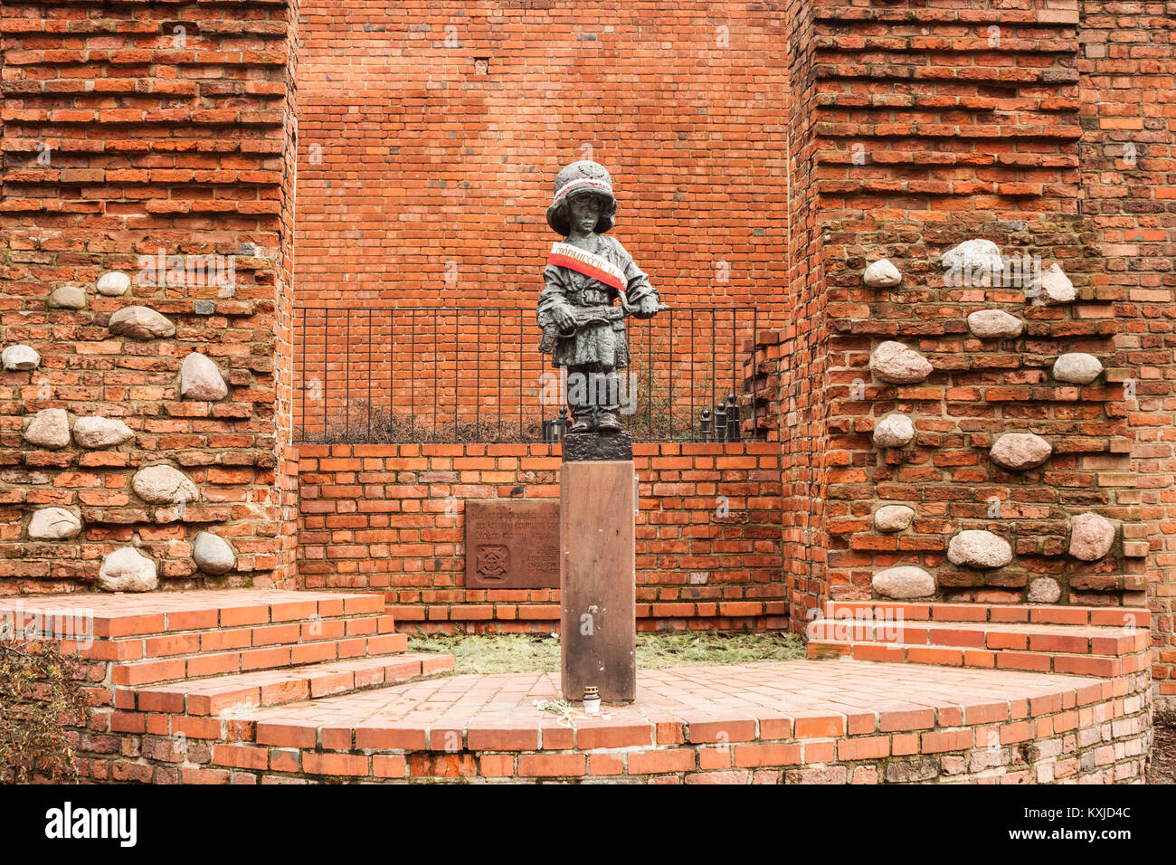 Warsaw, Poland - February 23, 2017: Monument to the Little Insurgent commemorating child soldiers who took part Stock Photo
