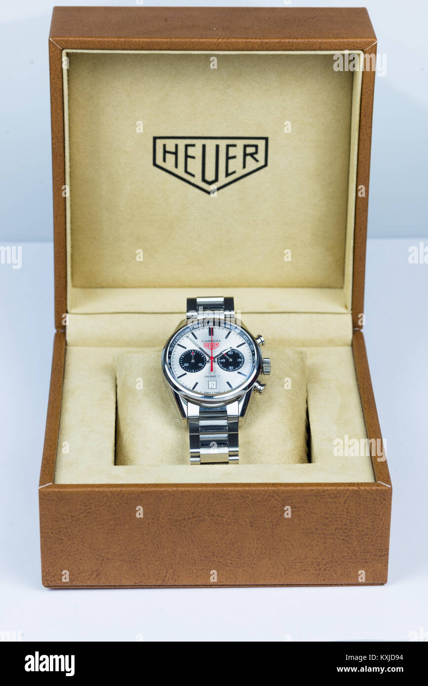TAG Heuer Carrera Calibre 17 Automatic Chronograph 41 mm with stainless steal strap on white background. - Stock Image