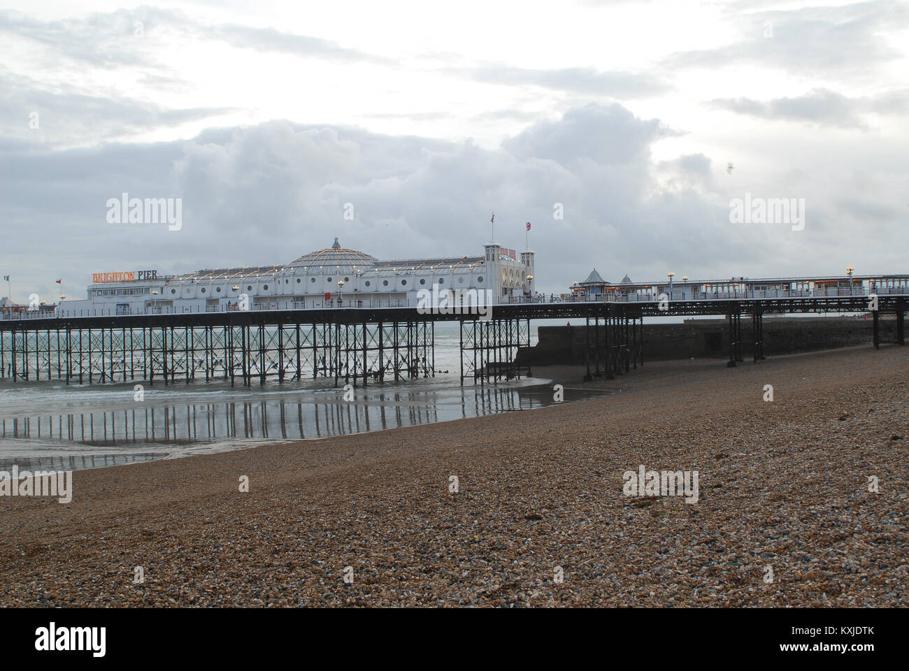 Brighton, United Kingdom - August 04 2008:   Brighton Pier on a grey cloudy day - Stock Image
