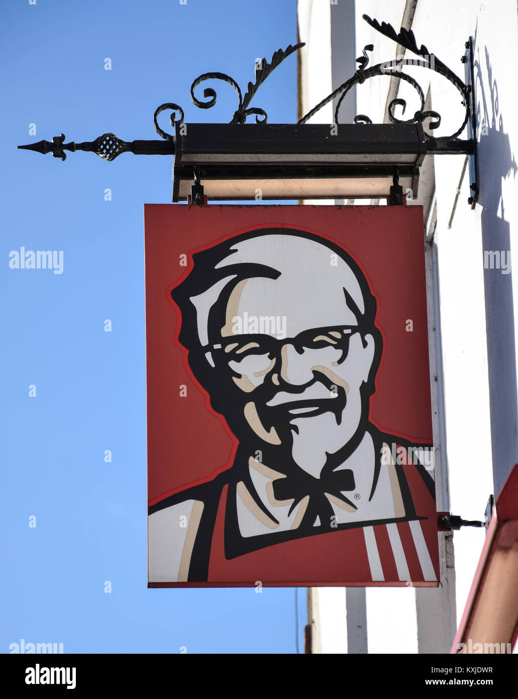 Banbury, England - November 29 2017:   A Hanging Sign for a KFC restaurant in Market Place, Banbury - Stock Image