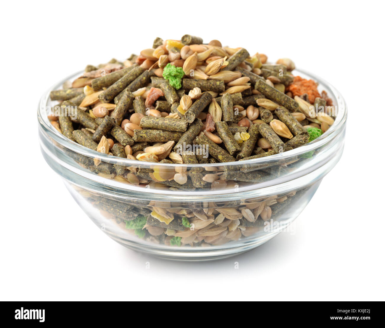 Bowl of compound rodents feed isolated on white - Stock Image