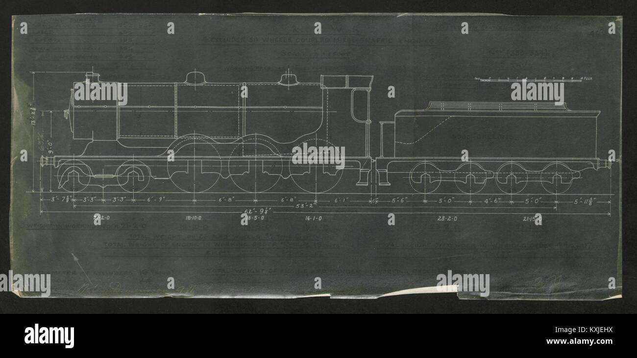 4-6-0 locomotive drawing L&SWR 4 cylinder Nos 330-334 Engineering plan c1920 - Stock Image