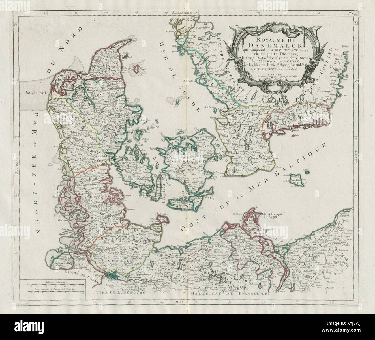 Denmark and sweden stock photos denmark and sweden stock images denmark sweden santini vaugondy 1784 old map gumiabroncs Choice Image