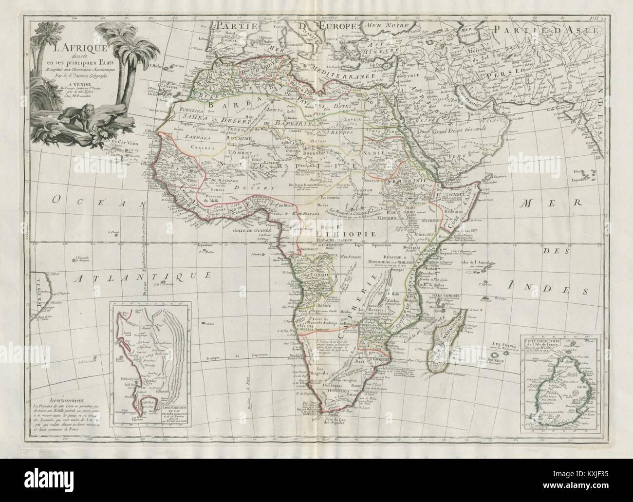'L'Afrique divisée en ses principaux Etats'. Africa. SANTINI / JANVIER 1784 map - Stock Image