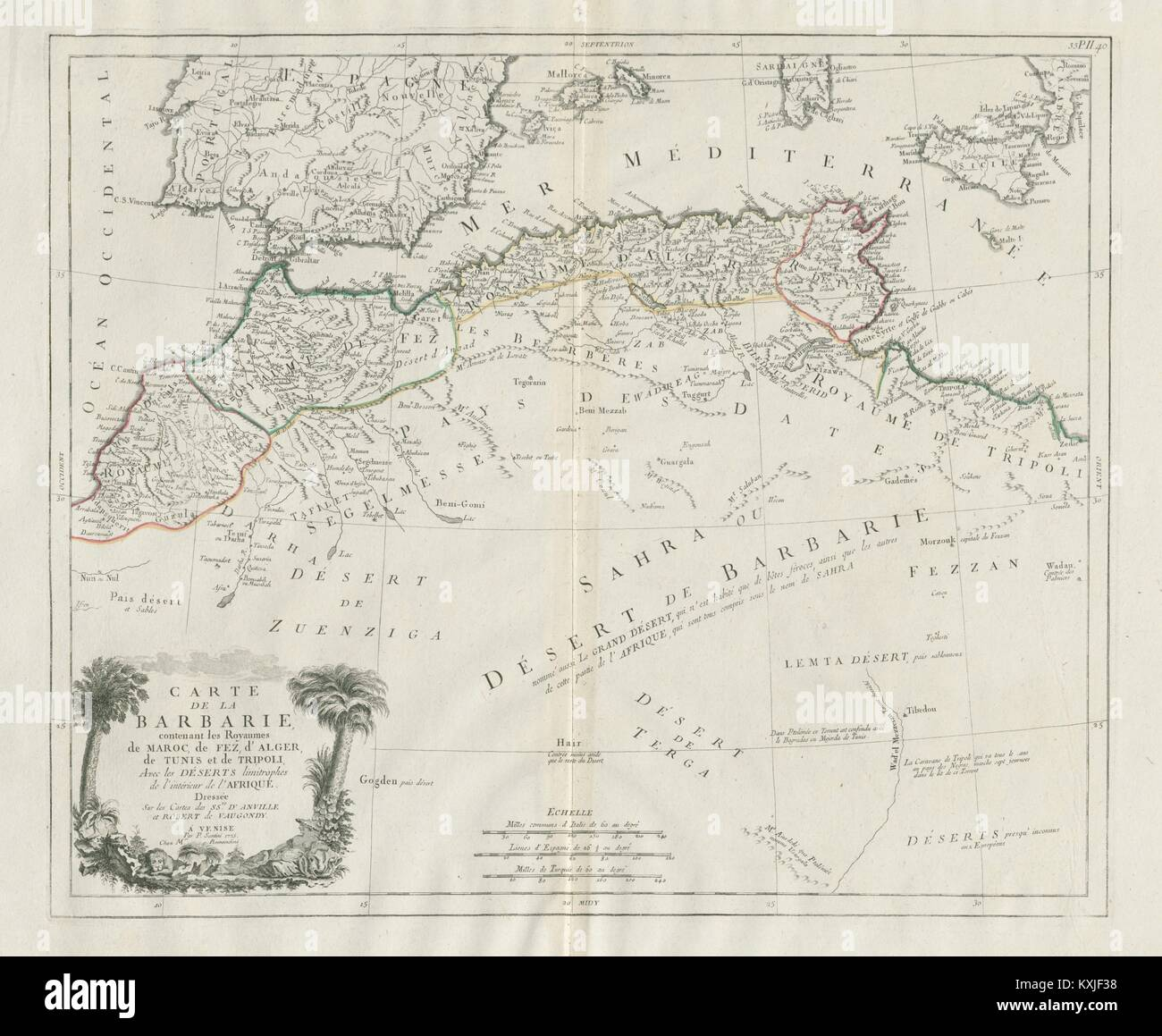 Map Of Spain And North Africa.Carte De La Barbarie North Africa Spain Santini Vaugondy 1784