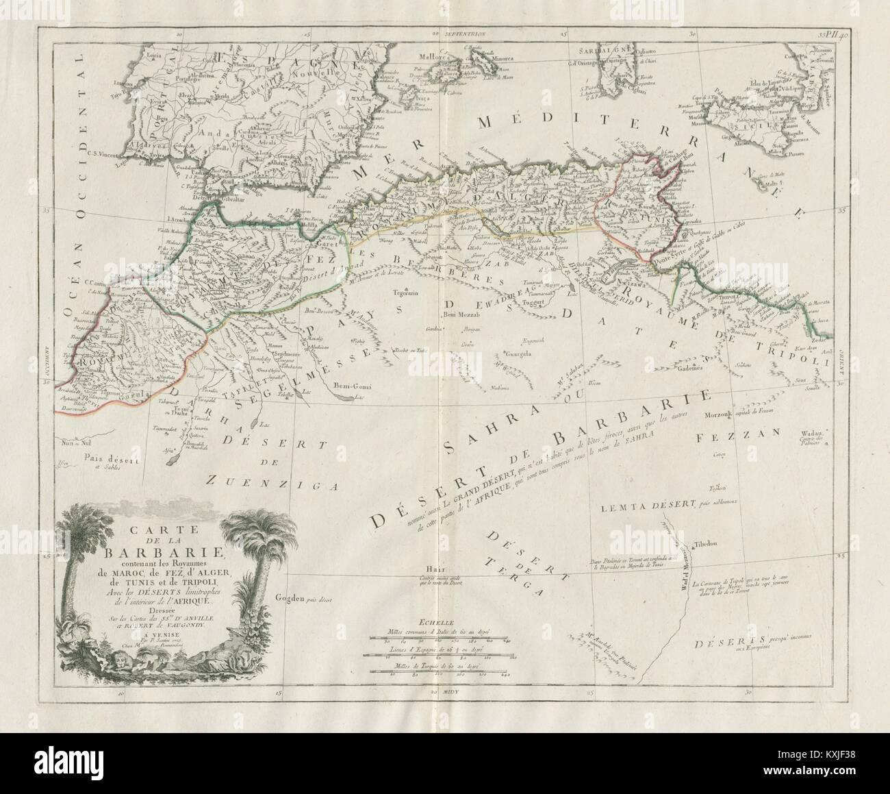 Carte De La Barbarie North Africa Spain Santini Vaugondy 1784