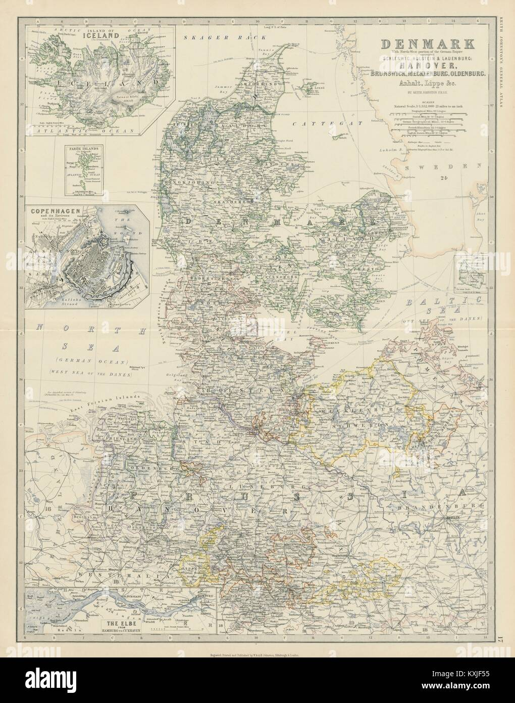 Map Of Northern Germany And Denmark.Denmark Northern Germany Iceland Copenhagen The Elbe 50x60cm Stock