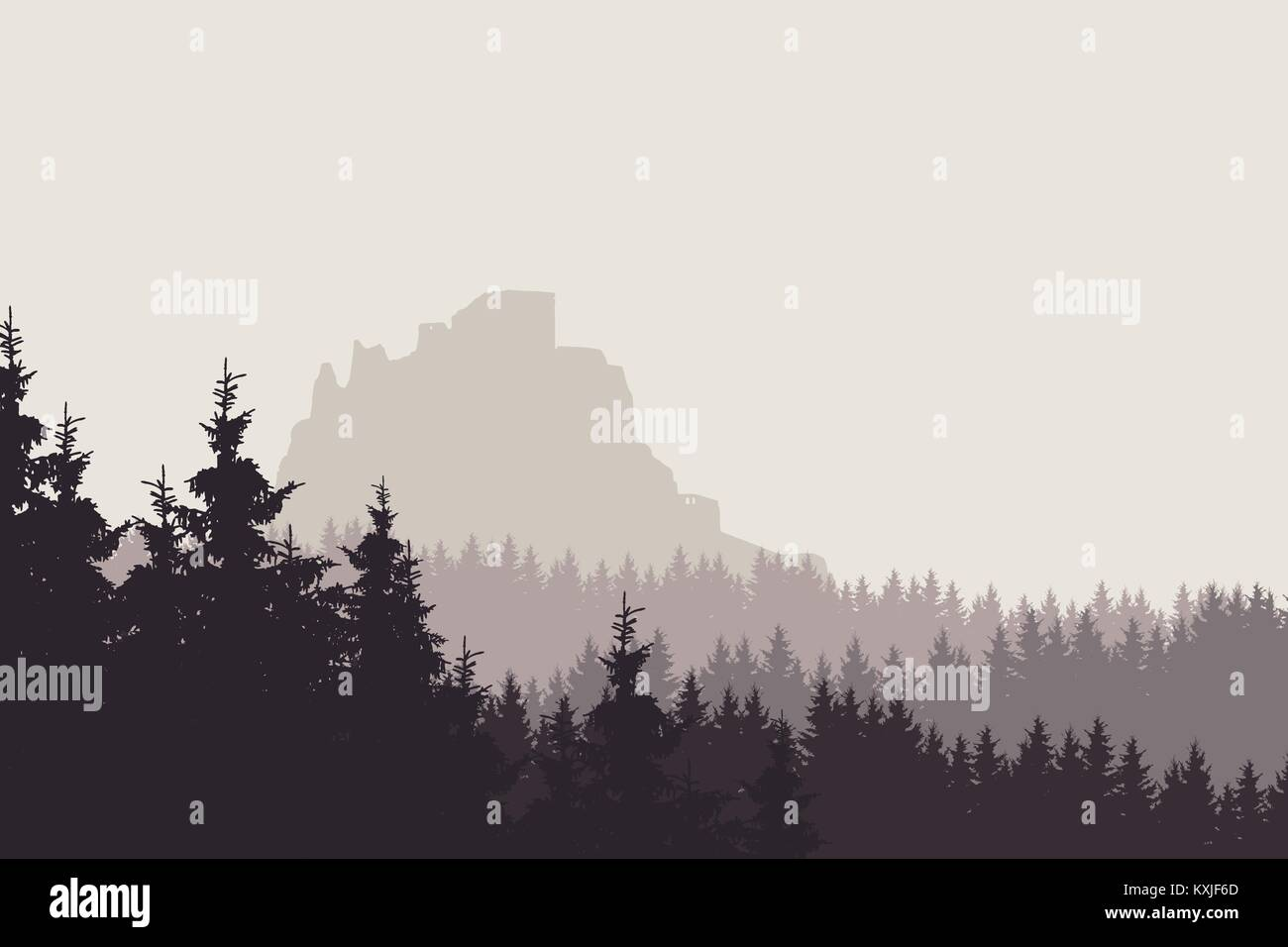 Vector illustration of a landscape with a forest and a ruin of a medieval castle - Stock Vector