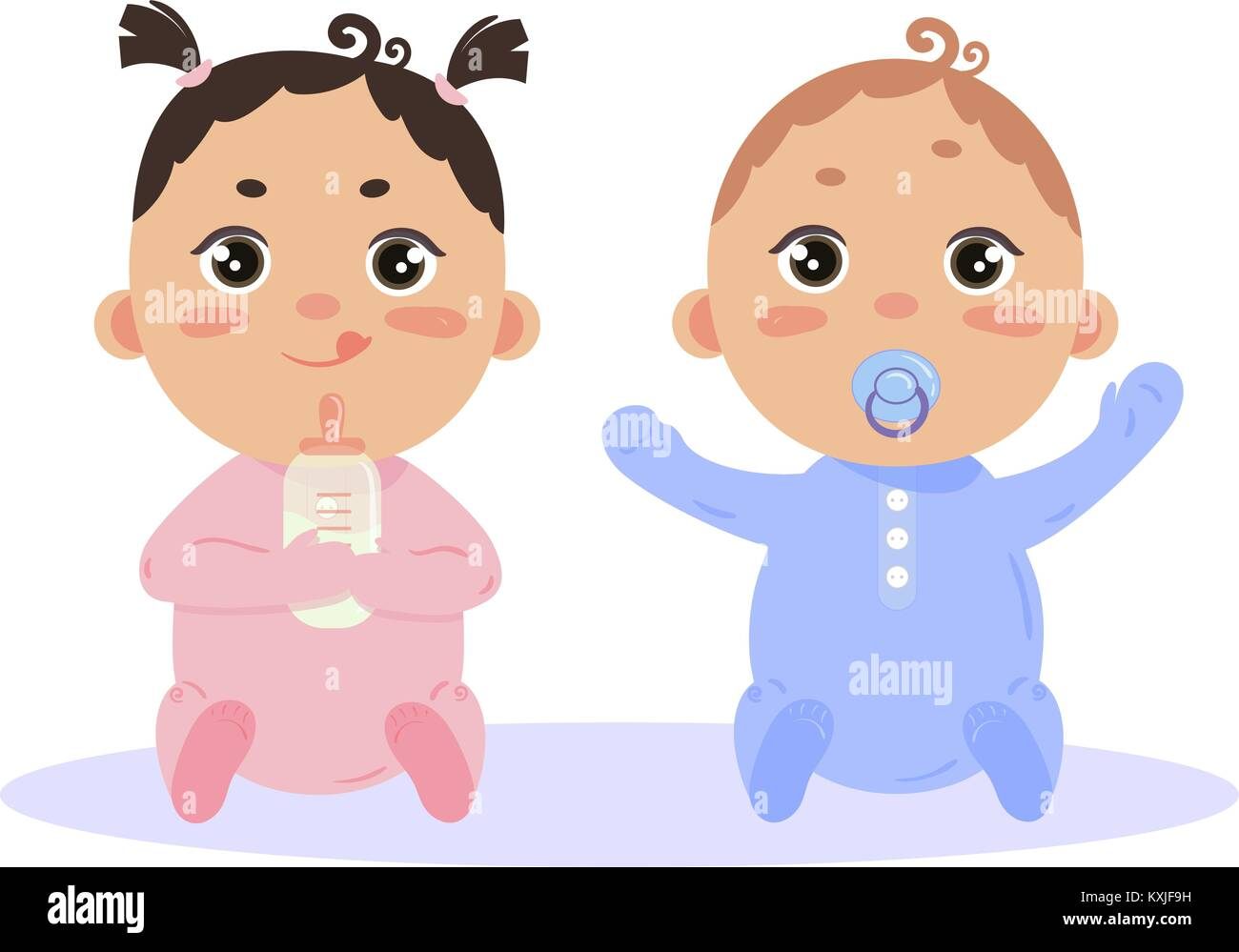 Newborn baby girl and boy sitting together Stock Vector