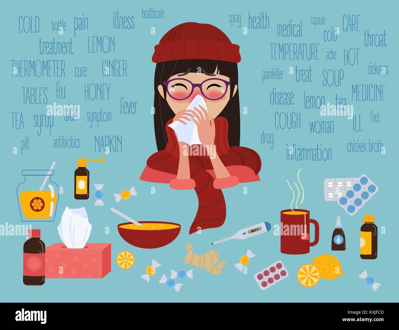 Young girl caught cold flu or virus. Treatment of illness - Stock Image