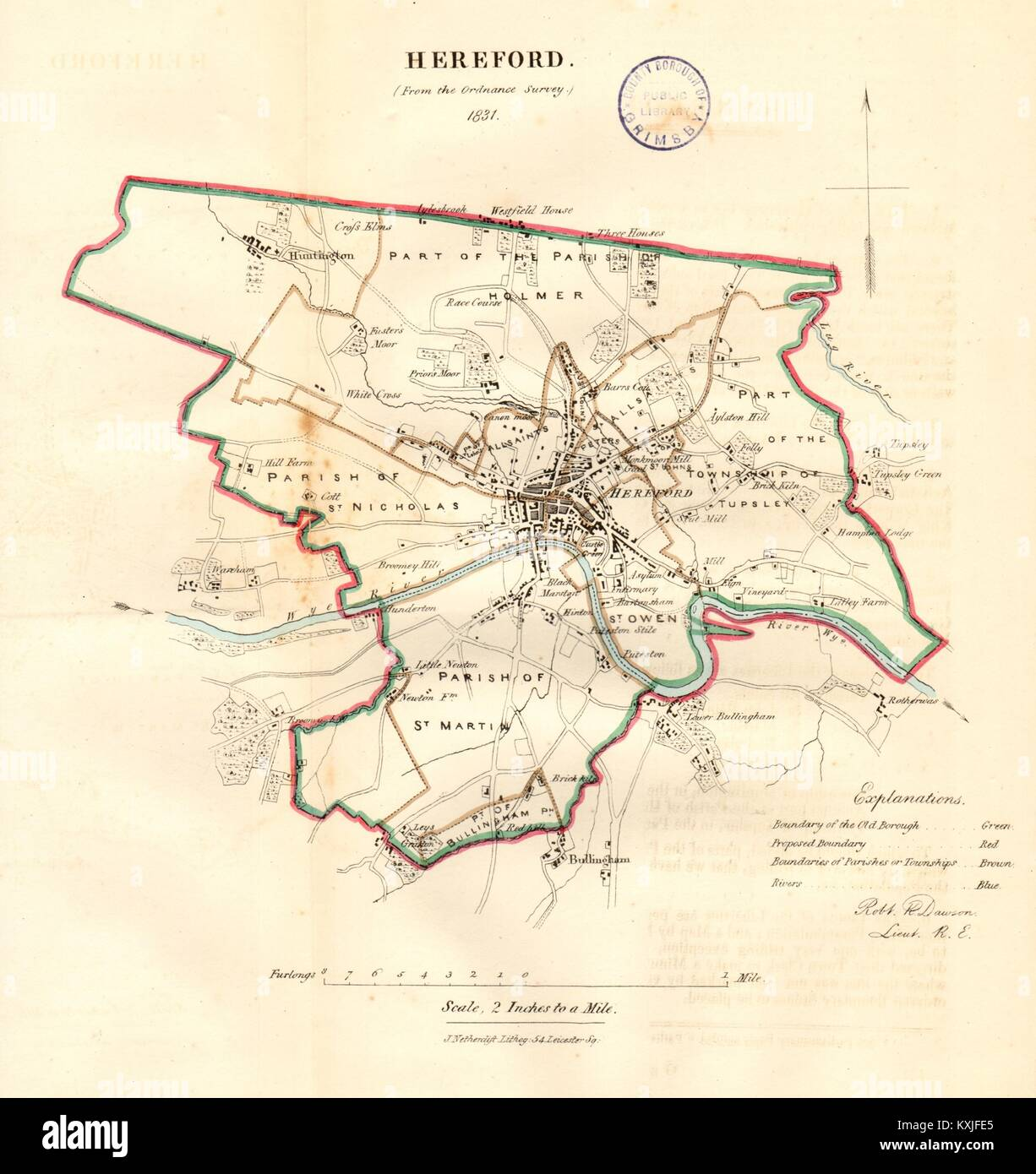 Dawson 1832 Old Map Reform Act Southampton Town/borough/city Plan Portswood