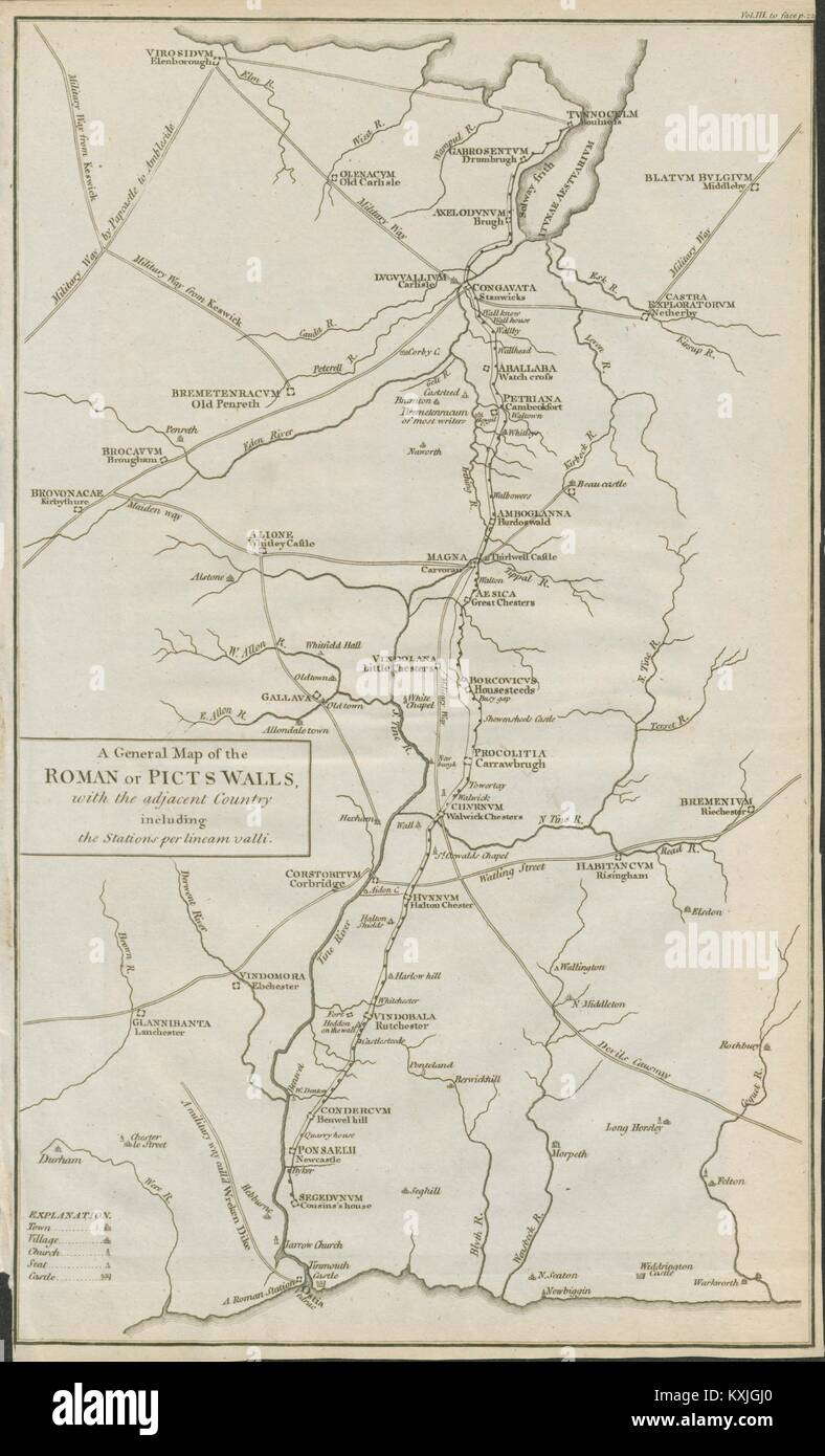 Hadrian's Wall. 'A map of the Roman or Picts' walls…'. CARY 1789 old - Stock Image