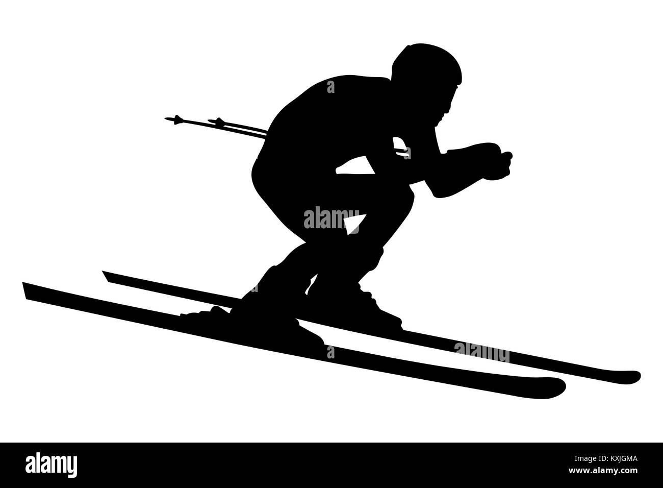 alpine skier athlete skiing downhill black silhouette - Stock Image