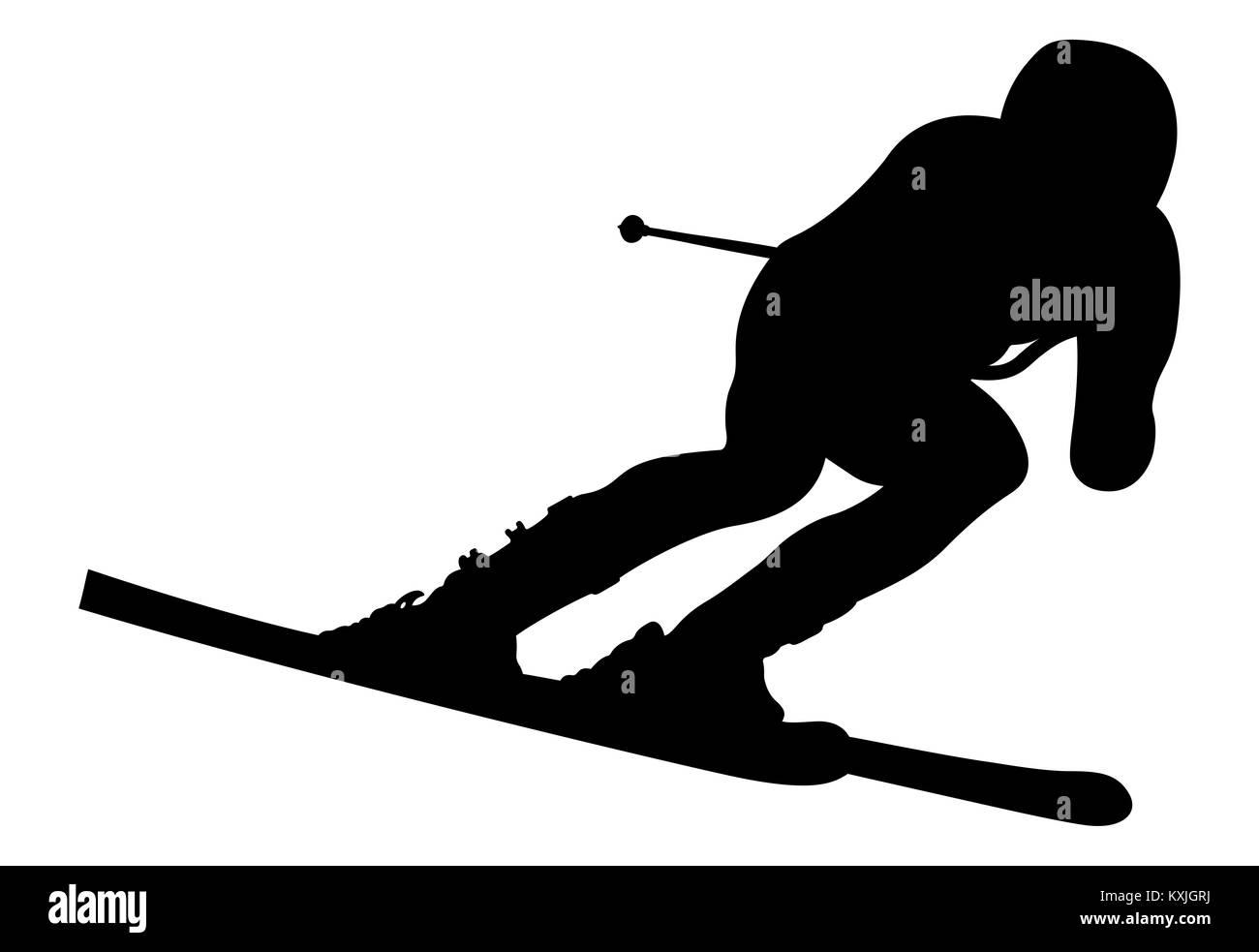 dynamic athlete skier in alpine skiing downhill - Stock Image