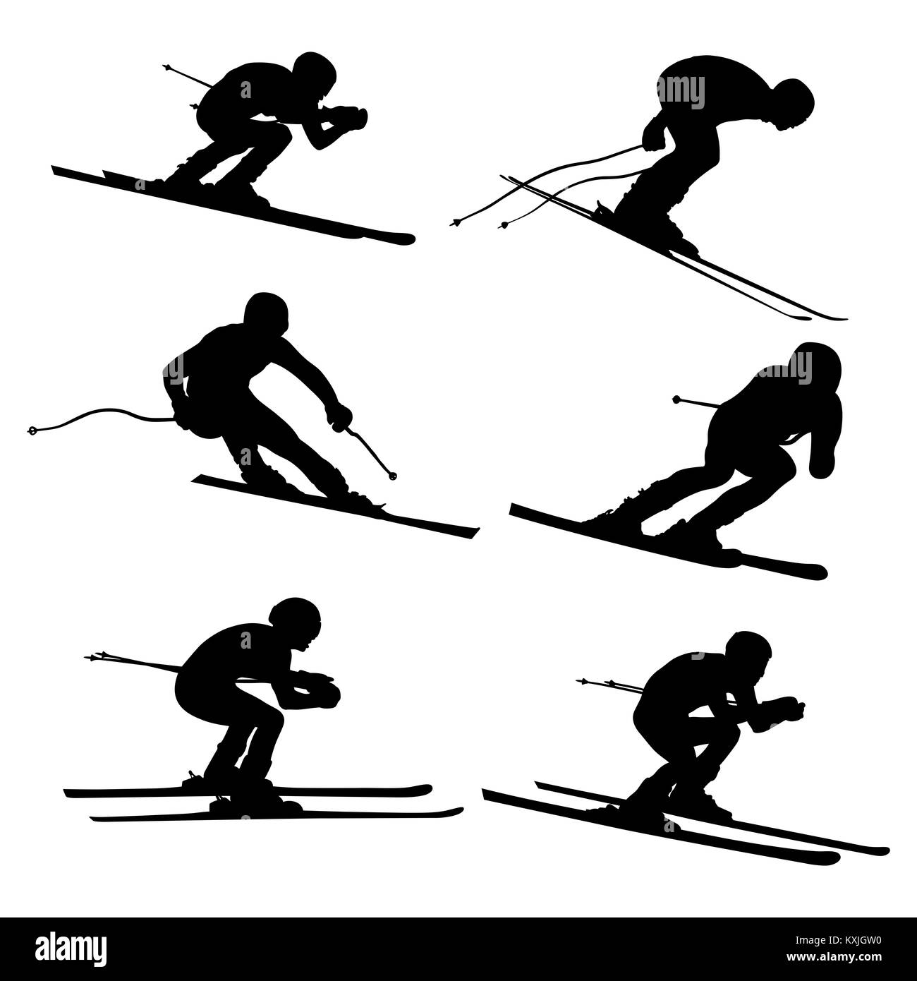 set alpine skiing athlete black silhouette - Stock Image