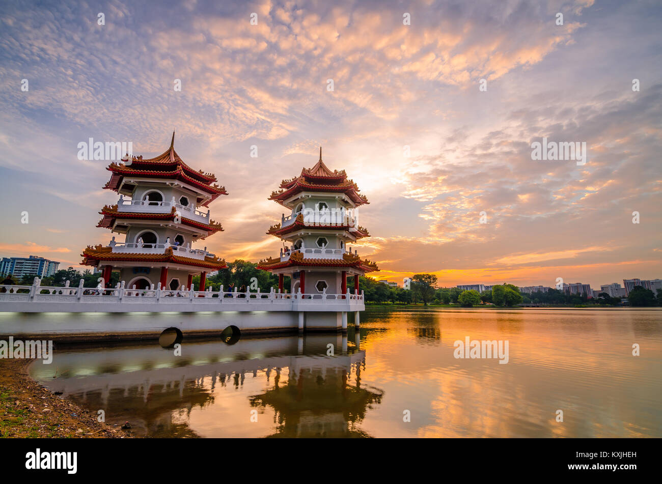 Beautiful sunset at Singapore Chinese Garden, a public park in Jurong East, Singapore. Designed by an architect - Stock Image