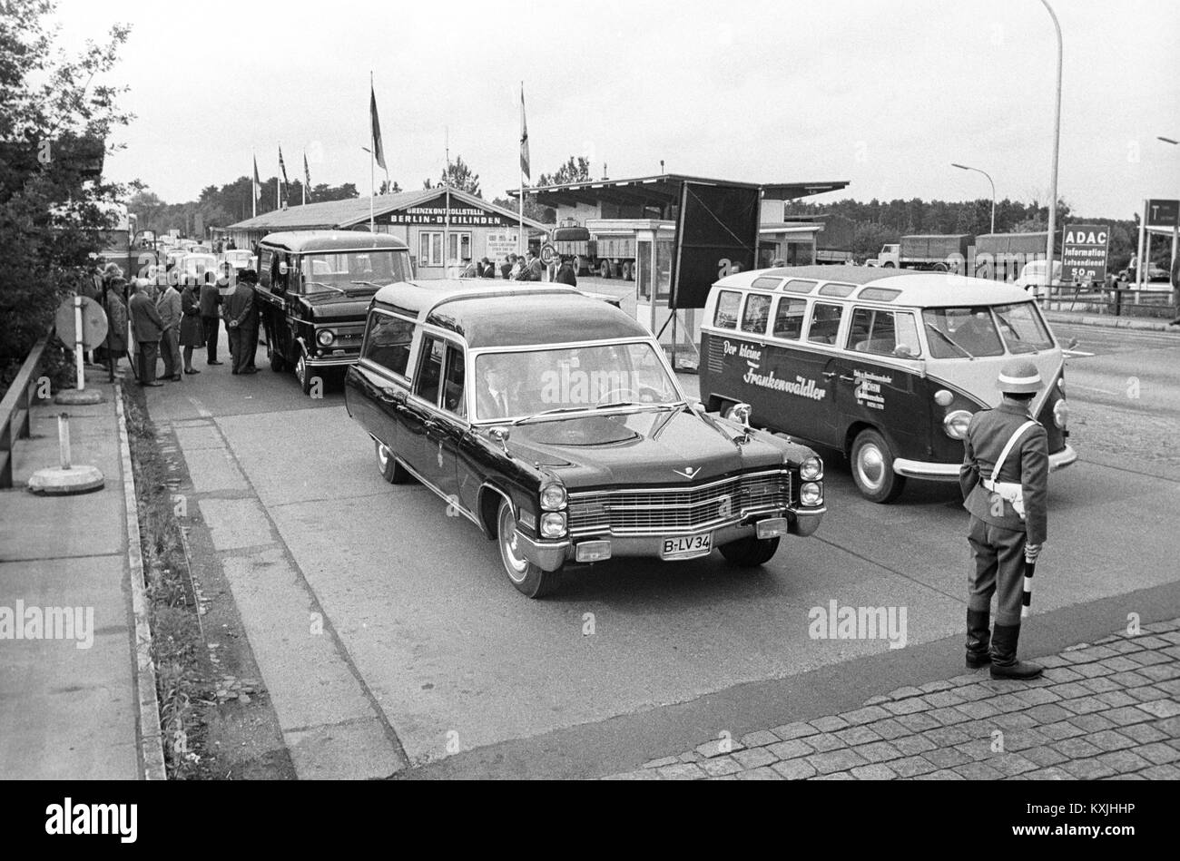 In a convoy of 120 cars the mortal remains of student Benno Ohnesorg, who was shot on 02 June 1967, are taken from - Stock Image