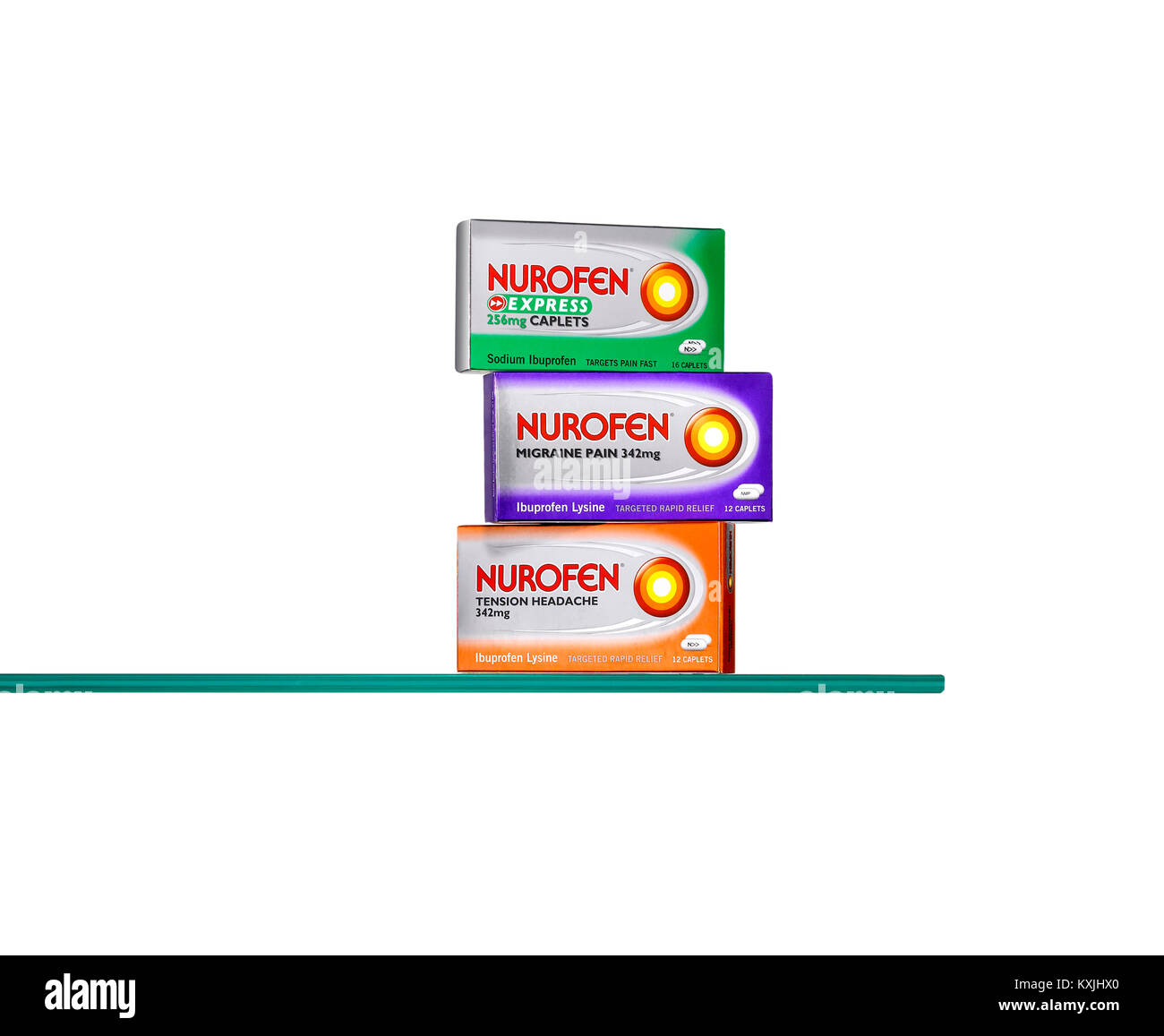 A glass shelf showing a selection of popular medicines - Stock Image