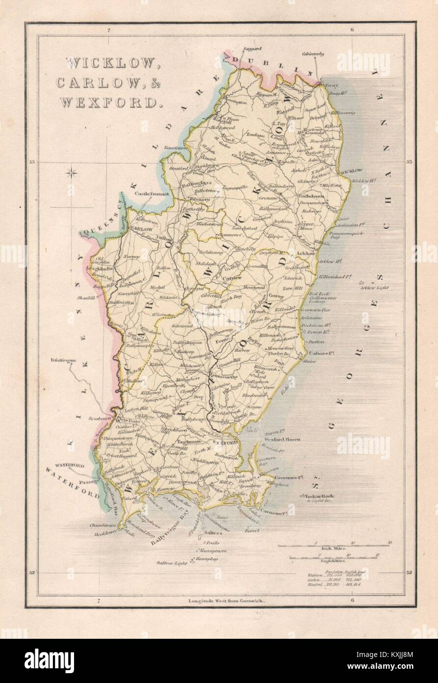 Map Of Wexford County Ireland.Antique Wicklow Carlow Wexford County Map By Alfred Adlard Stock