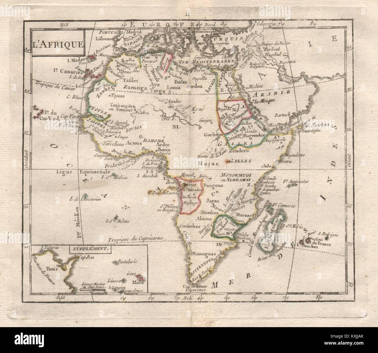 'L'Afrique' by BRION DE LA TOUR. Africa 'Zimbaoe'. Niger w/o outlet 1777 map - Stock Image