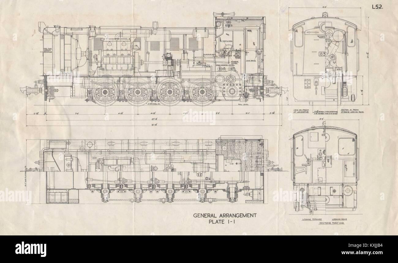 Locomotive plan section drawing. Plate I-I. L52. Trains railways 1930 print Stock Photo