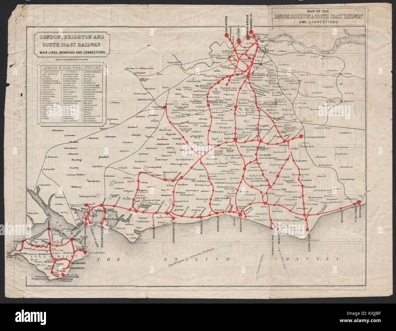 map of the london brighton south coast railway and connections c1910