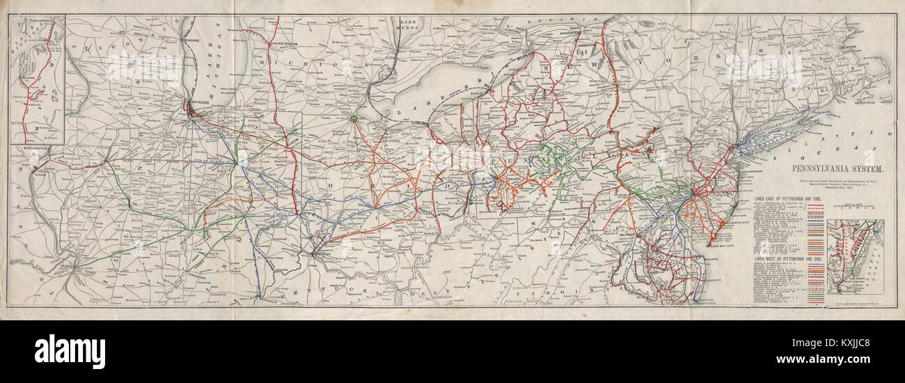 Pennsylvania Railroad System 1912 old antique vintage