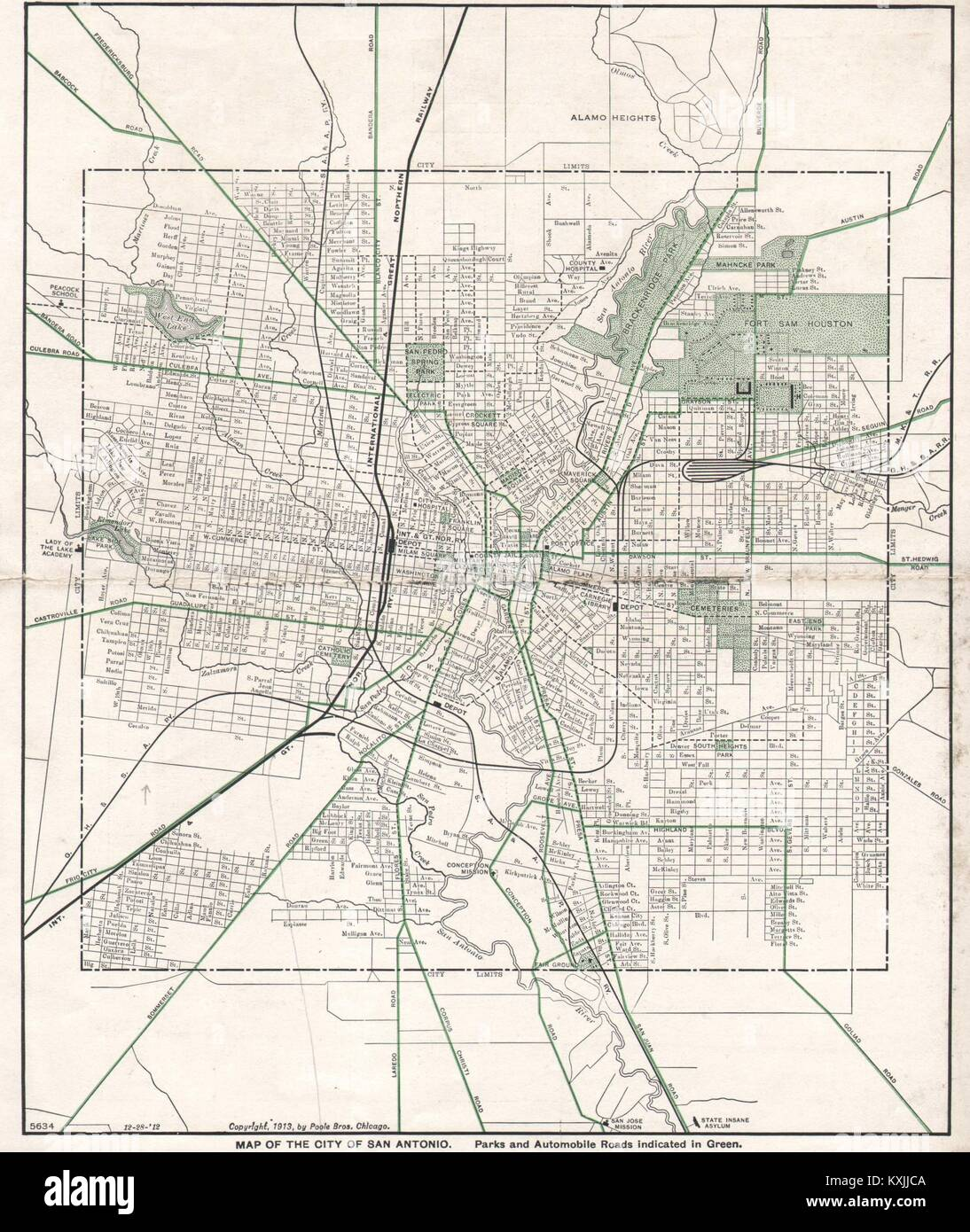 Map Of Texas Railroads.San Antonio Town City Map Plan Texas Railroads Poole Bros 1913