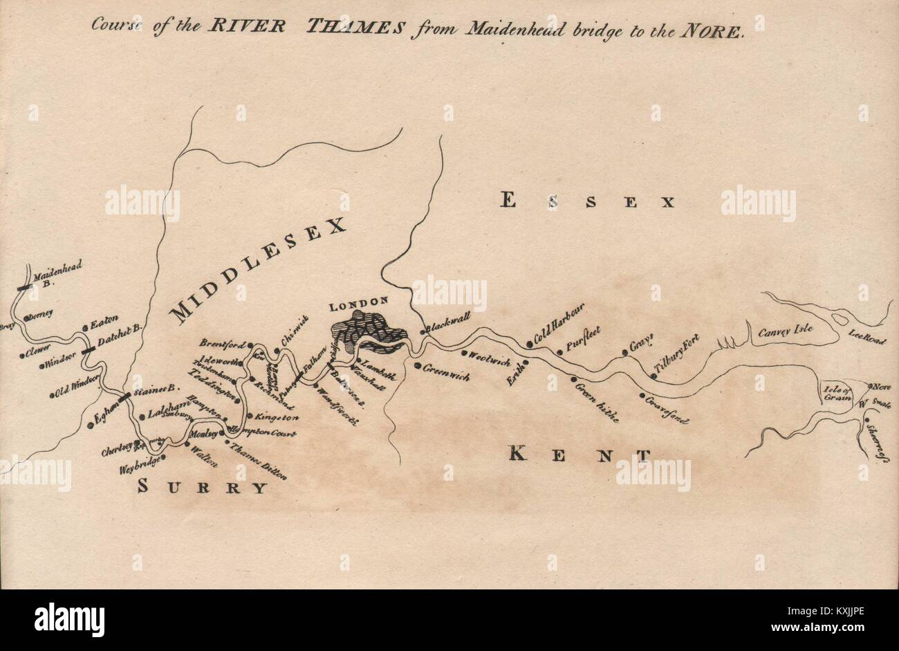 Course of the River Thames from Maidenhead bridge to the Nore 1792 old map - Stock Image