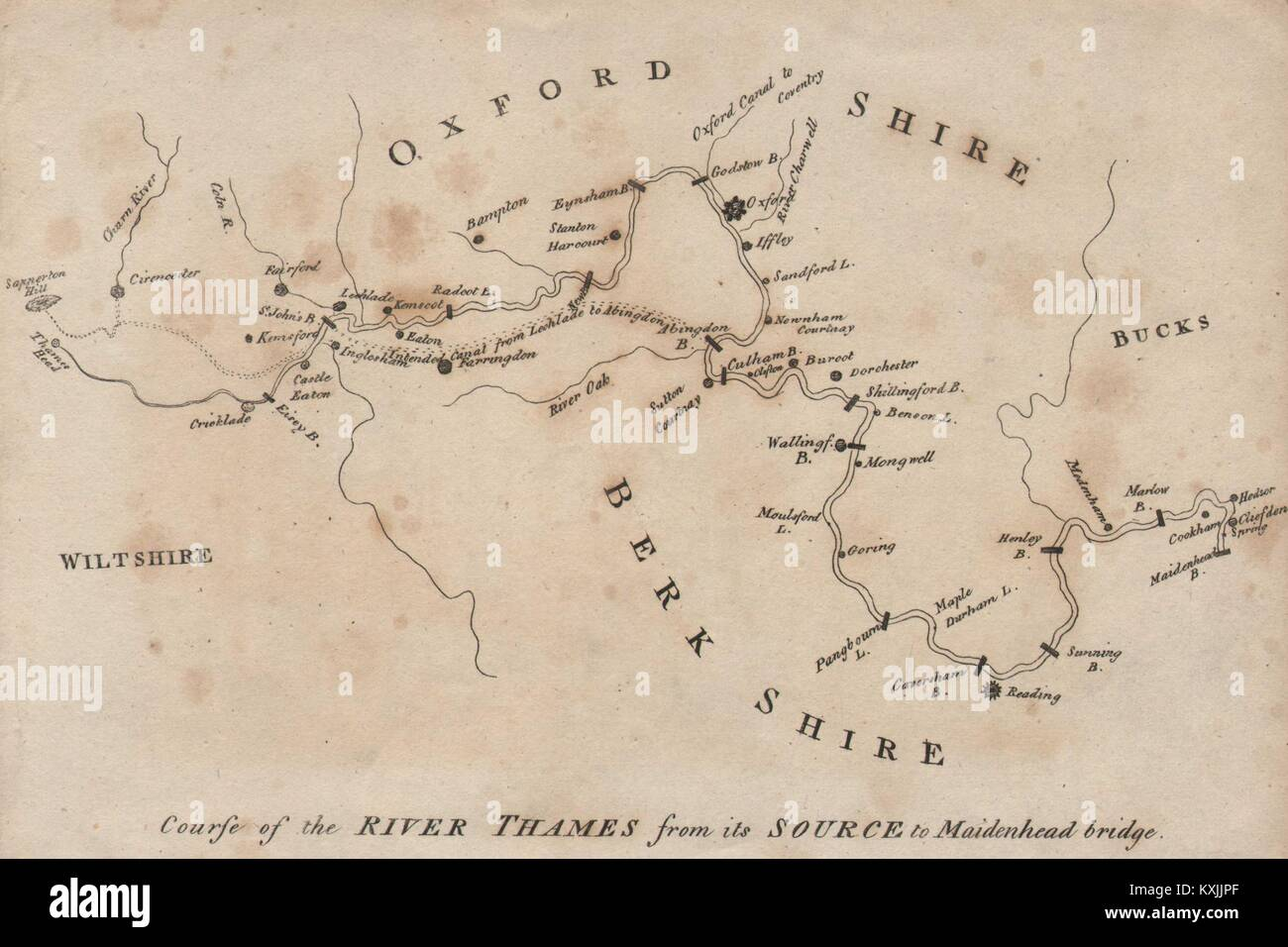 Course of the River Thames from its Source to Maidenhead Bridge 1792 old map Stock Photo