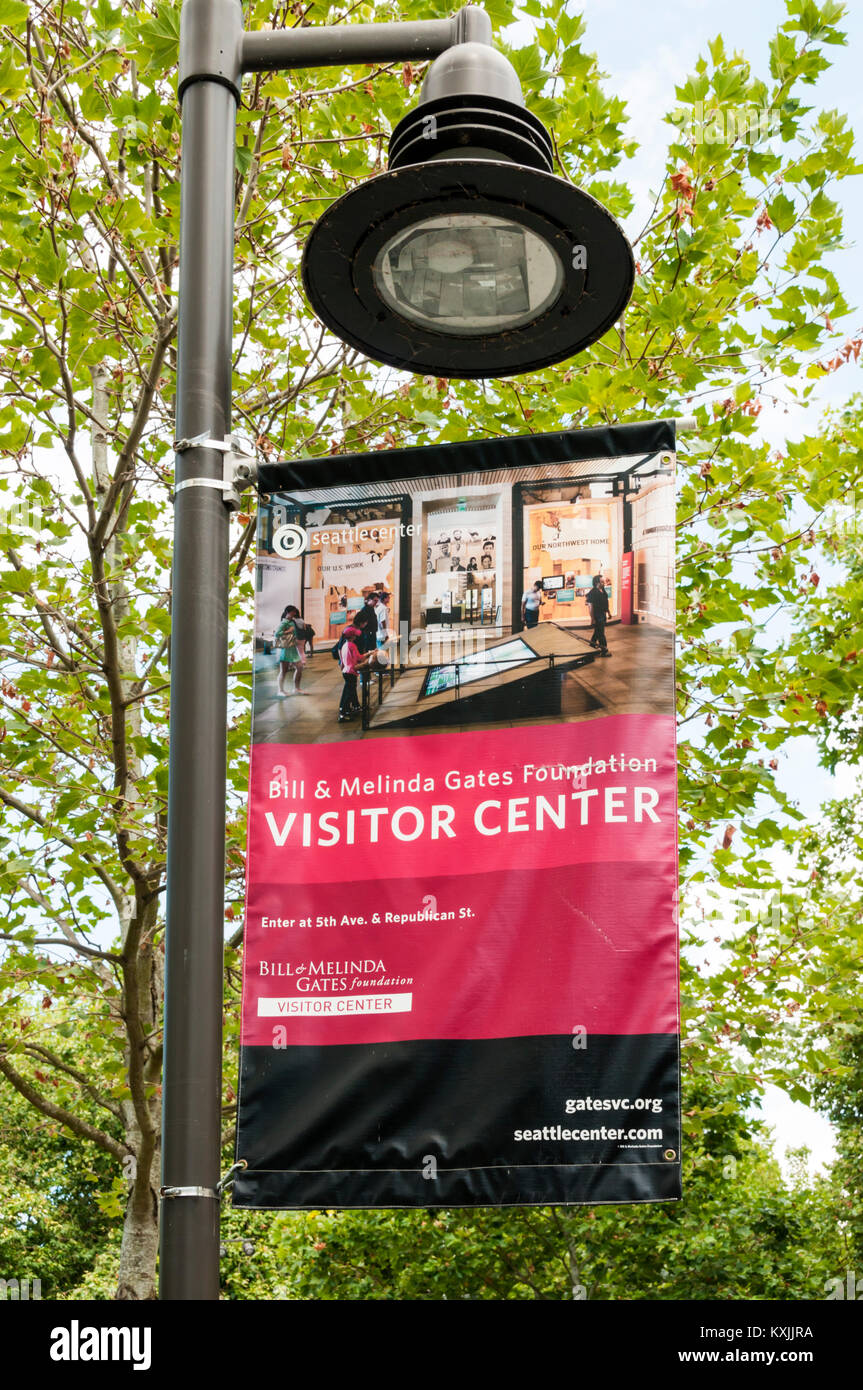 A sign for the Bill & Melinda Gates Foundation Visitor Center in Seattle. - Stock Image