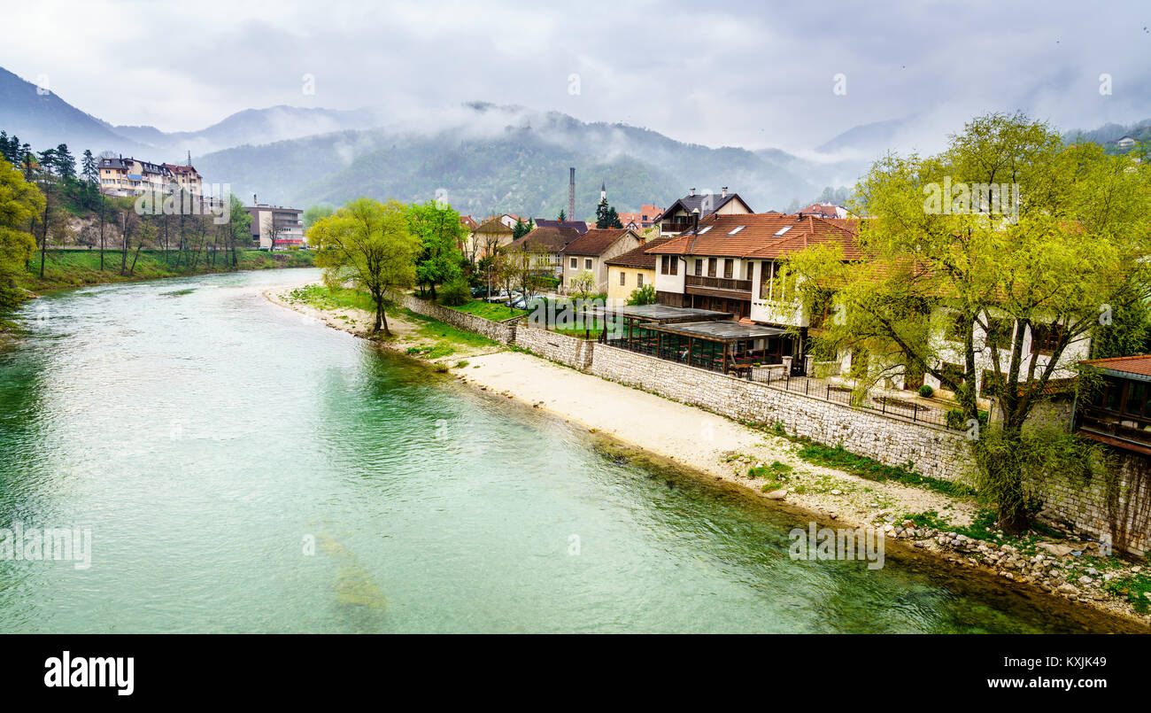 Scenic view of the Neretva River and surrounding mountains in Konjic, Bosnia Stock Photo