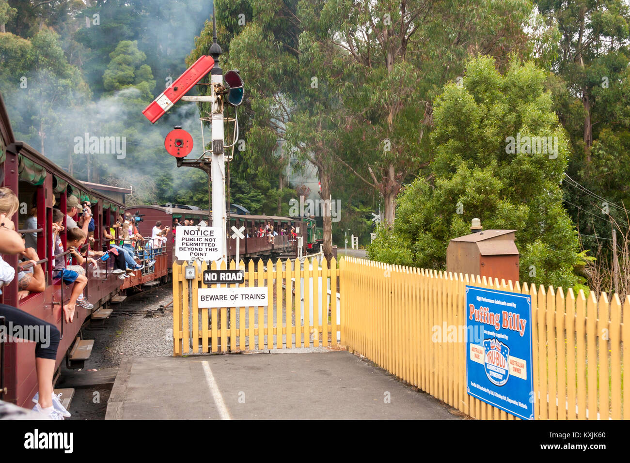 Puffing Billy is historical narrow railway in the Dandenong Ranges near Melbourne. Australia. Puffing Billy steam - Stock Image