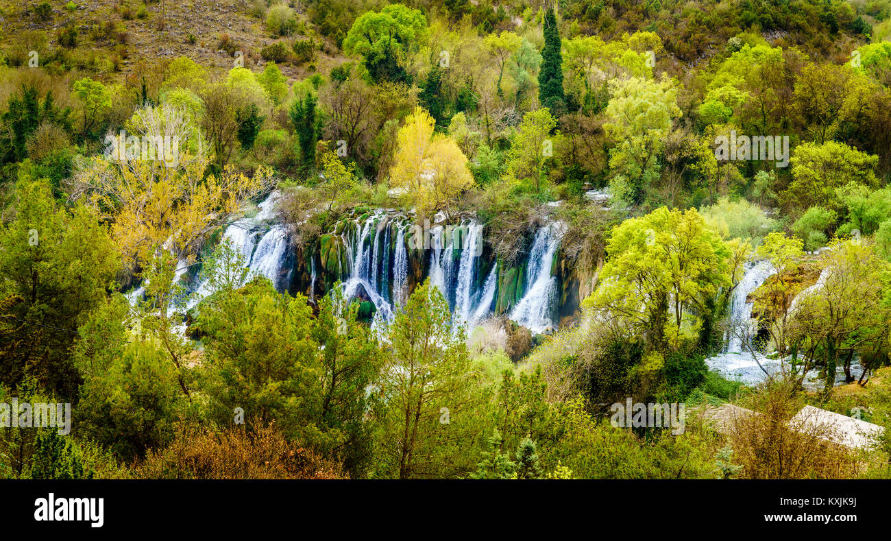 Bird's eye view of Kravica Waterfalls in Bosnia-Herzegovina - Stock Image