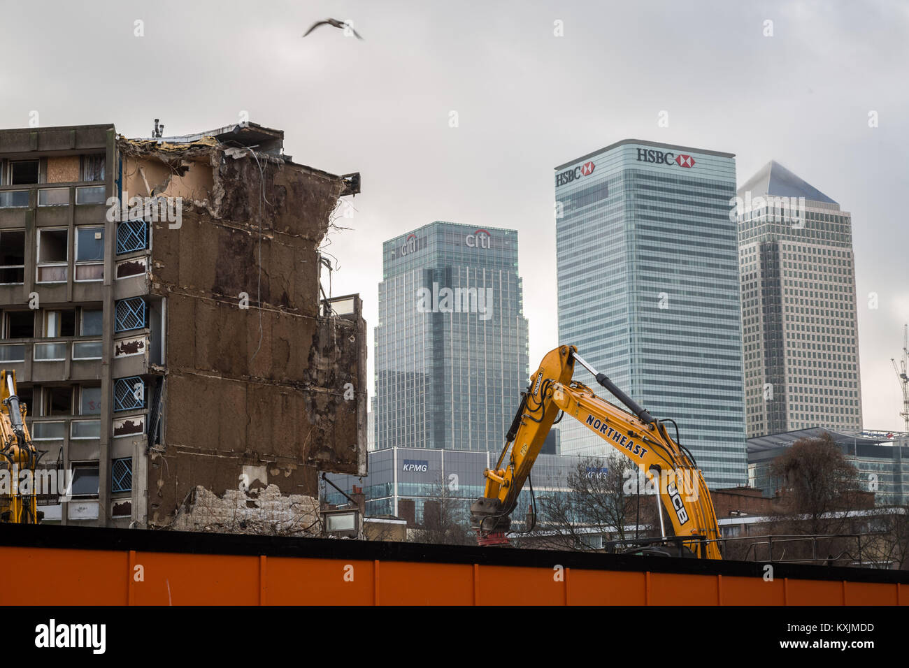 Demolition continues of Robin Hood Gardens, the brutalist post-war housing estate in east London, UK. - Stock Image
