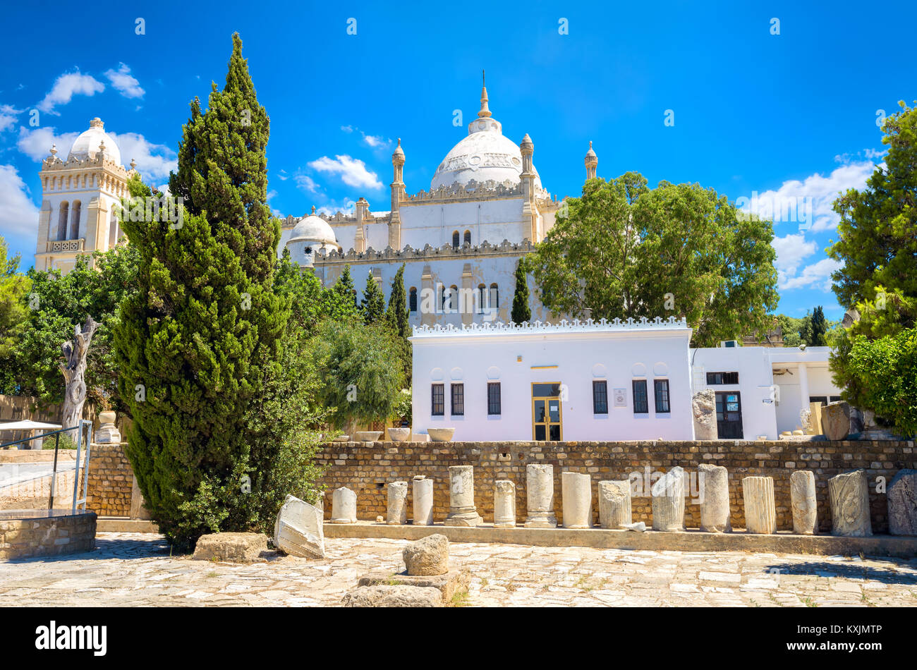 View of Saint Louis Cathedral (Acropolium). Carthage, Byrsa Hill, Tunisia - Stock Image