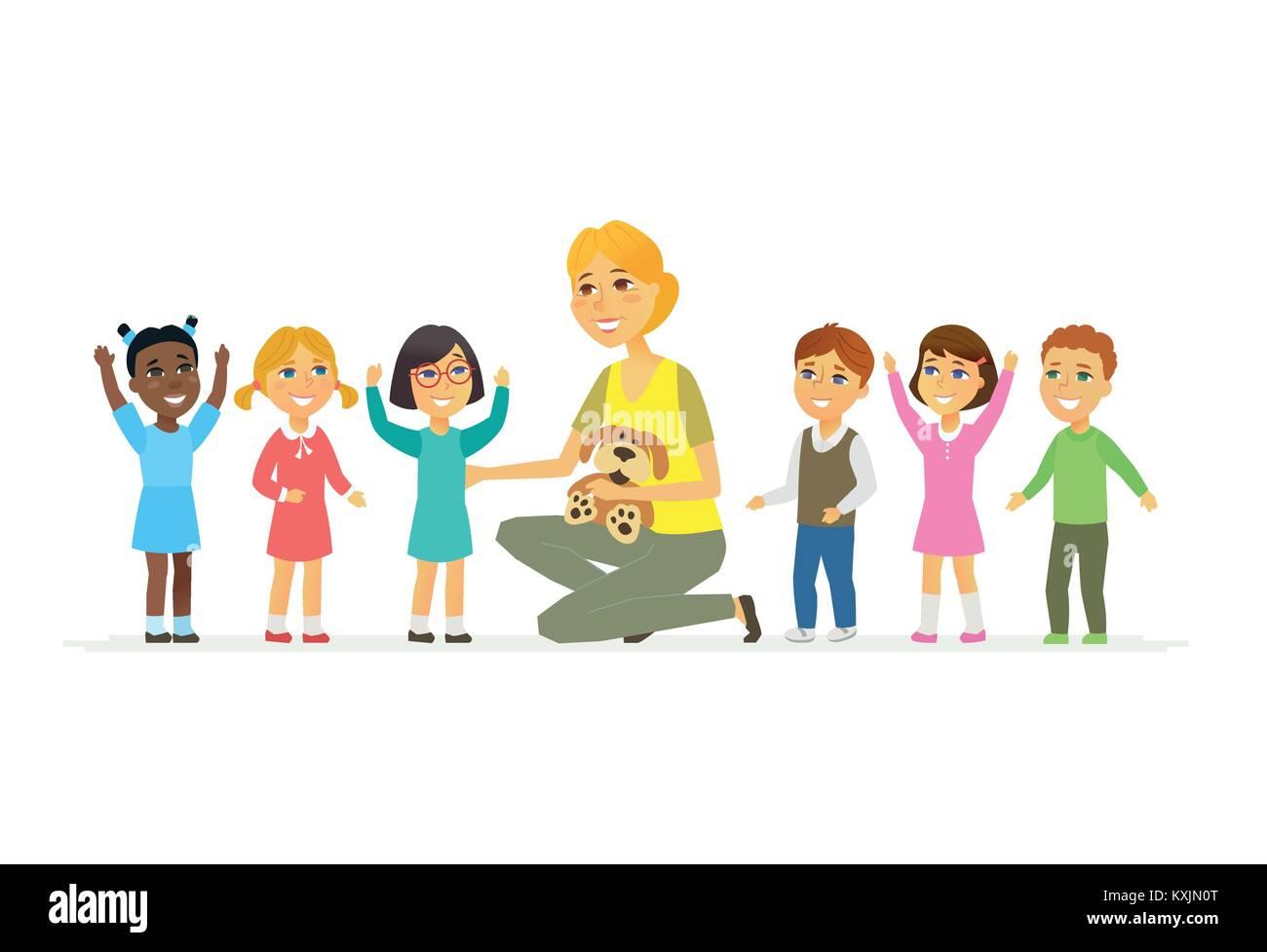 Nursery teacher with children - cartoon people characters isolated illustration - Stock Vector
