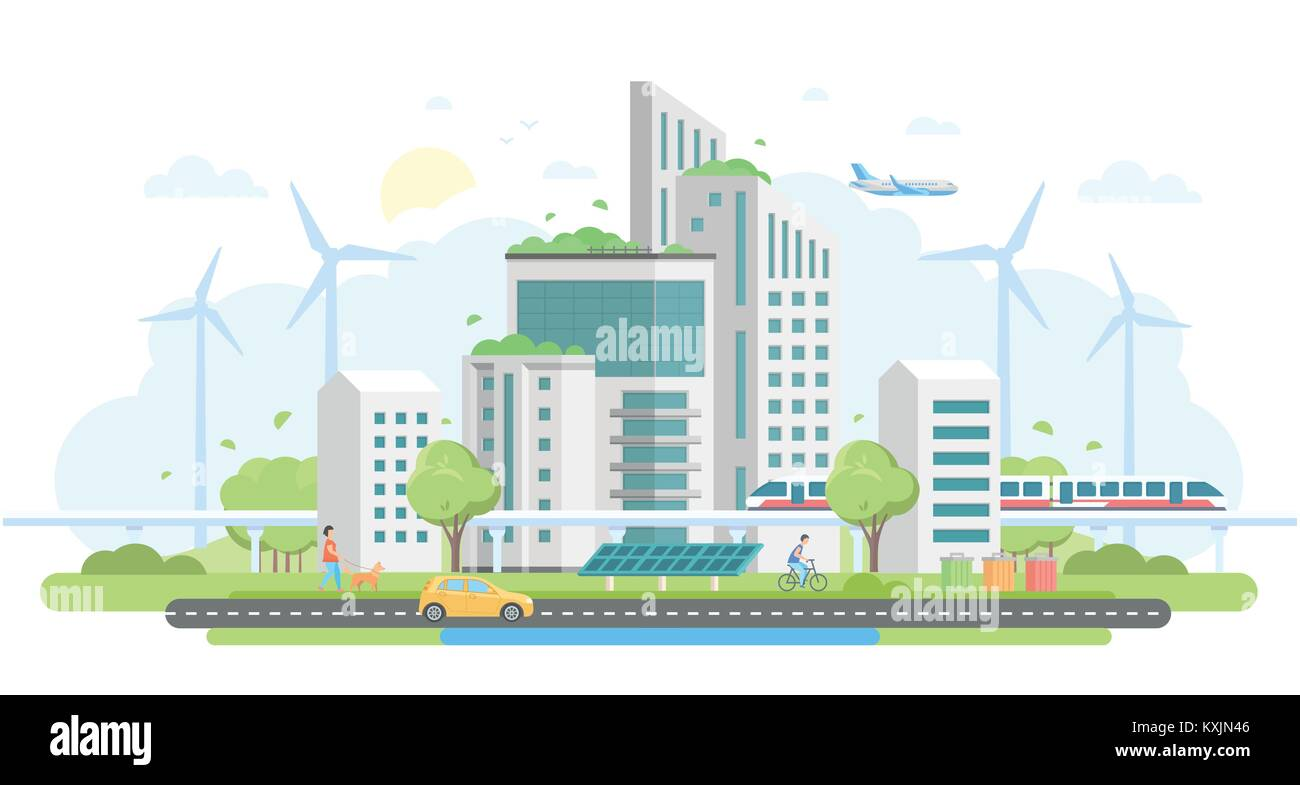 Eco-friendly housing complex - modern flat design style vector illustration Stock Vector