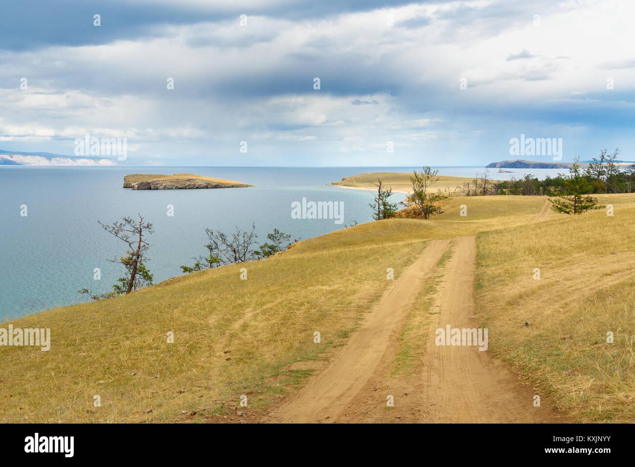 View cape Kharantsi and Island Kharantsi. Lake Baikal. Olkhon Island. Russia - Stock Image