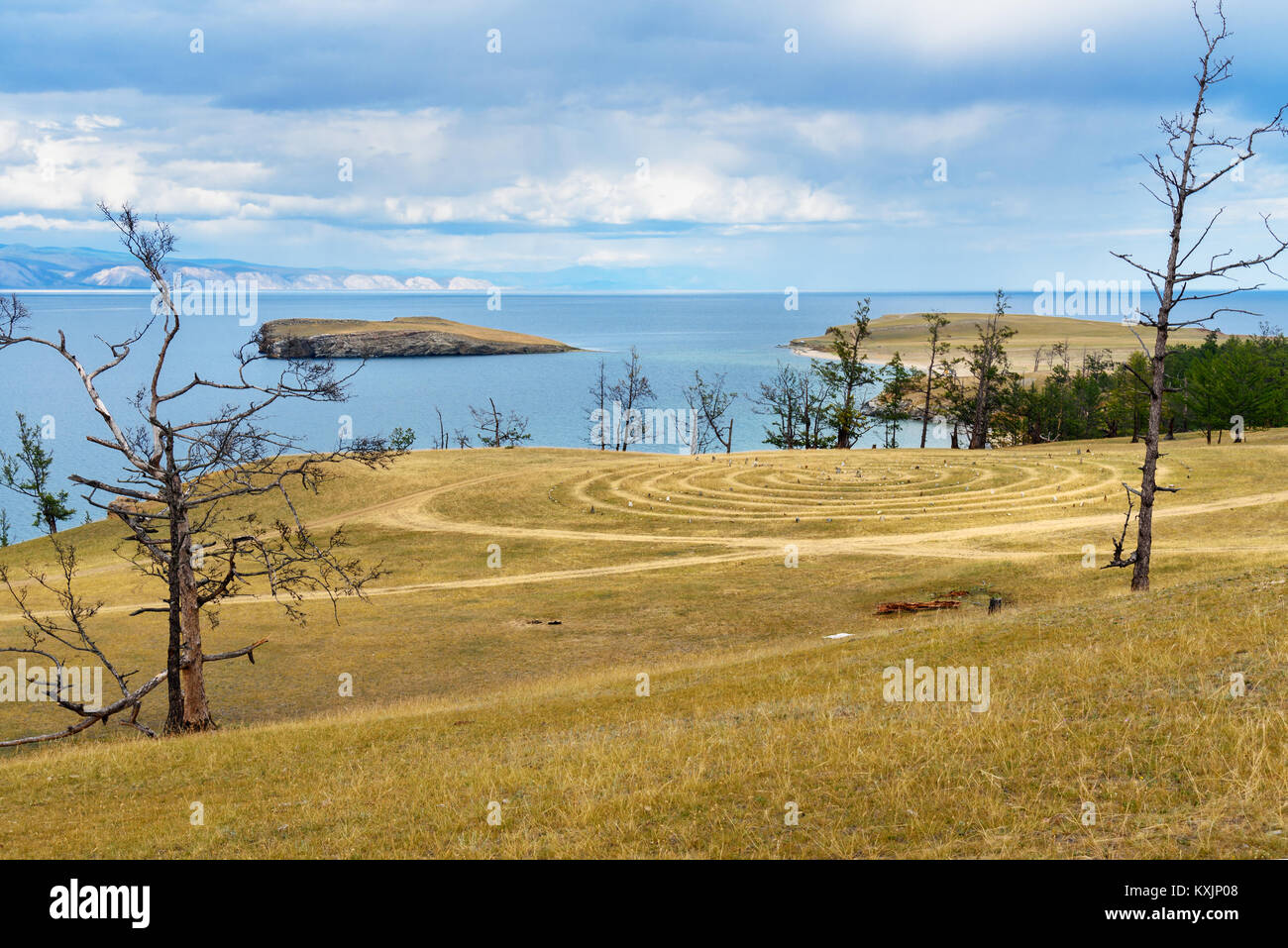 Labyrinth near Baikal lake. Kharantsi. Olkhon Island. Russia - Stock Image
