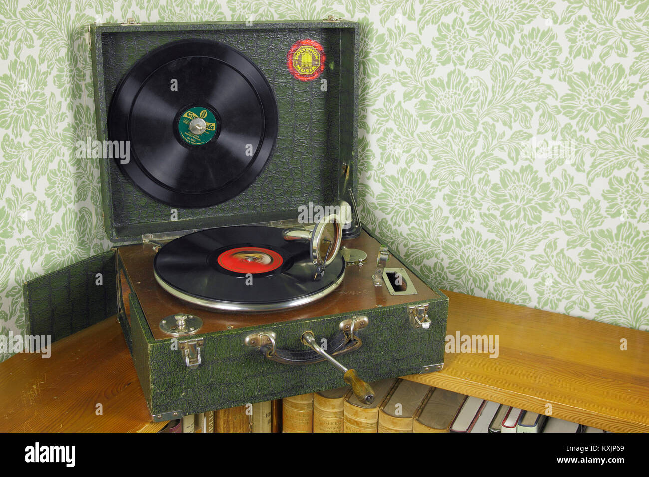 potable gramophone and 78 rpm record - Stock Image