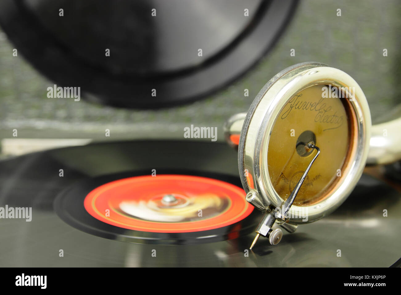 closeup of pickup and 78 rpm record - Stock Image