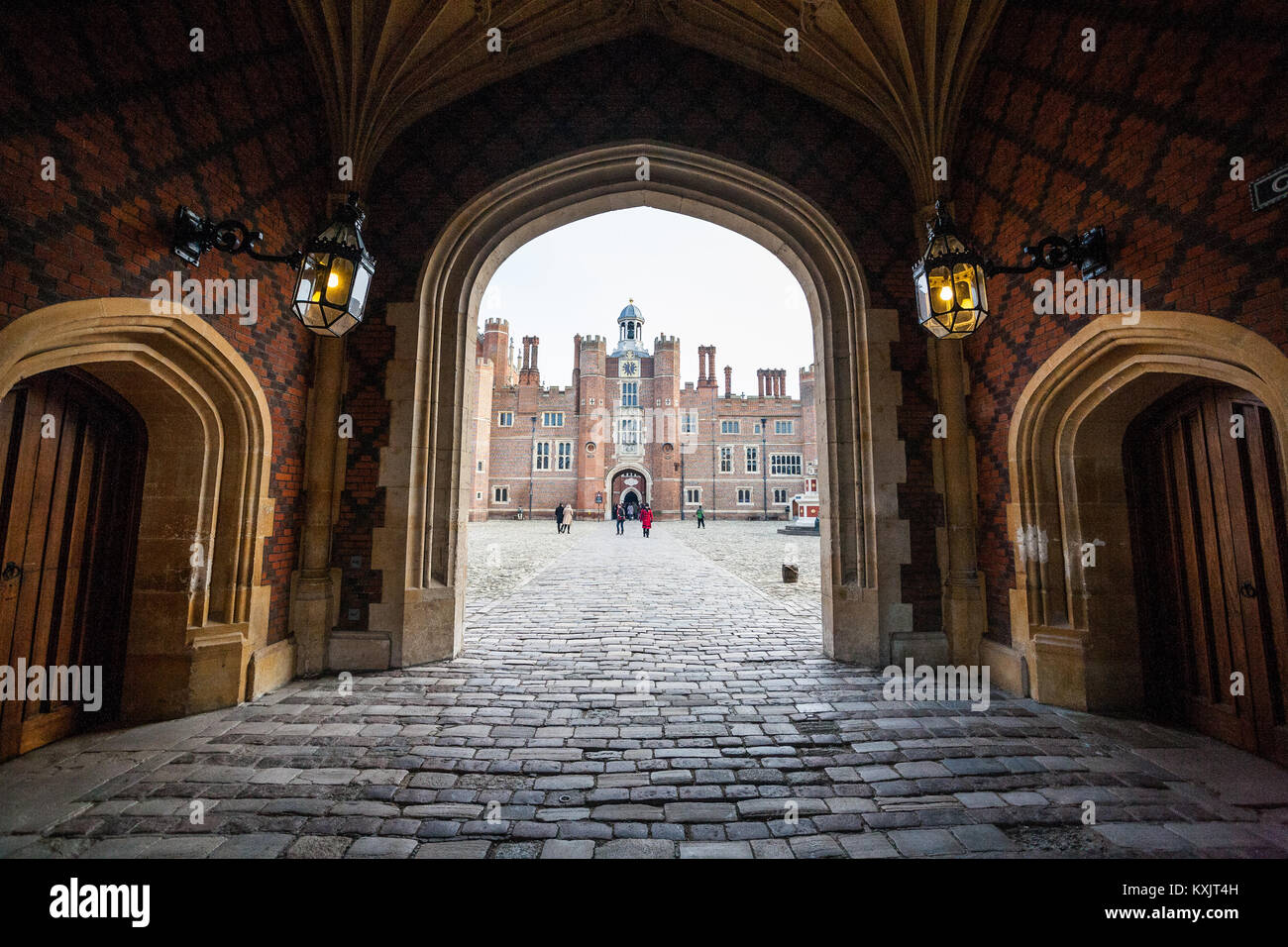 Hampton Court Palace is a royal palace in the borough of Richmond, London. It has two contrasting architectural - Stock Image