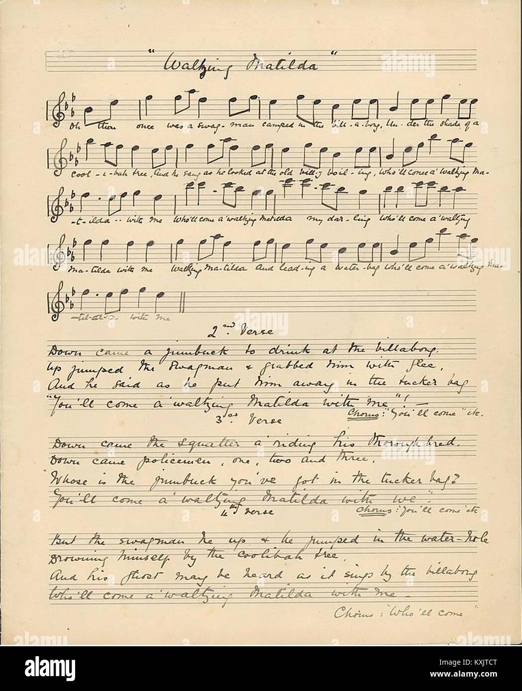 Original lyrics of Waltzing Matilda c.1895 Music by Christina Rutherford Macpherson, Words by Banjo Paterson - Stock Image