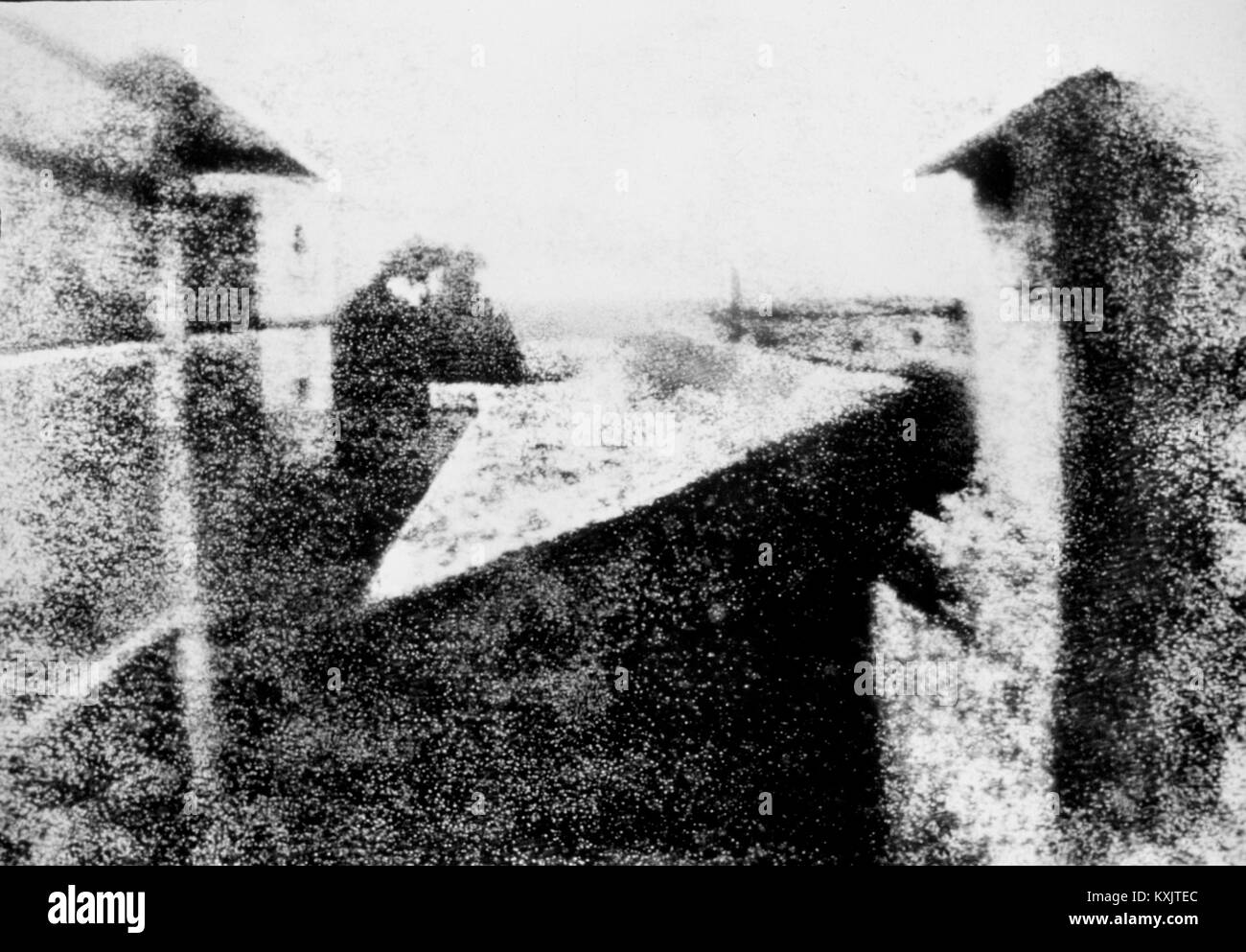 Niépce's View from the Window at Le Gras (1826 or 1827), the earliest surviving photograph of a real-world - Stock Image