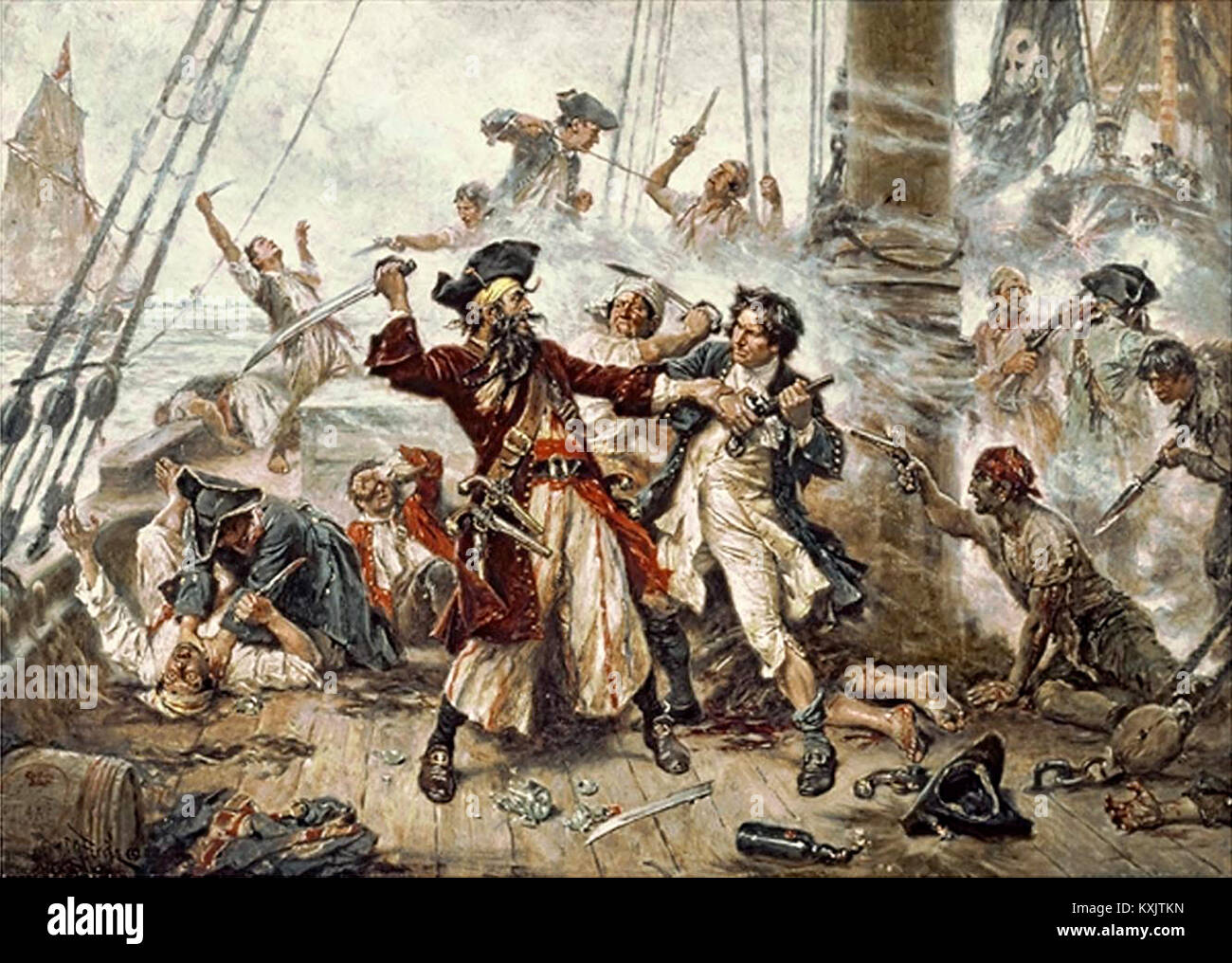 Capture of the Pirate, Blackbeard, 1718 - Stock Image