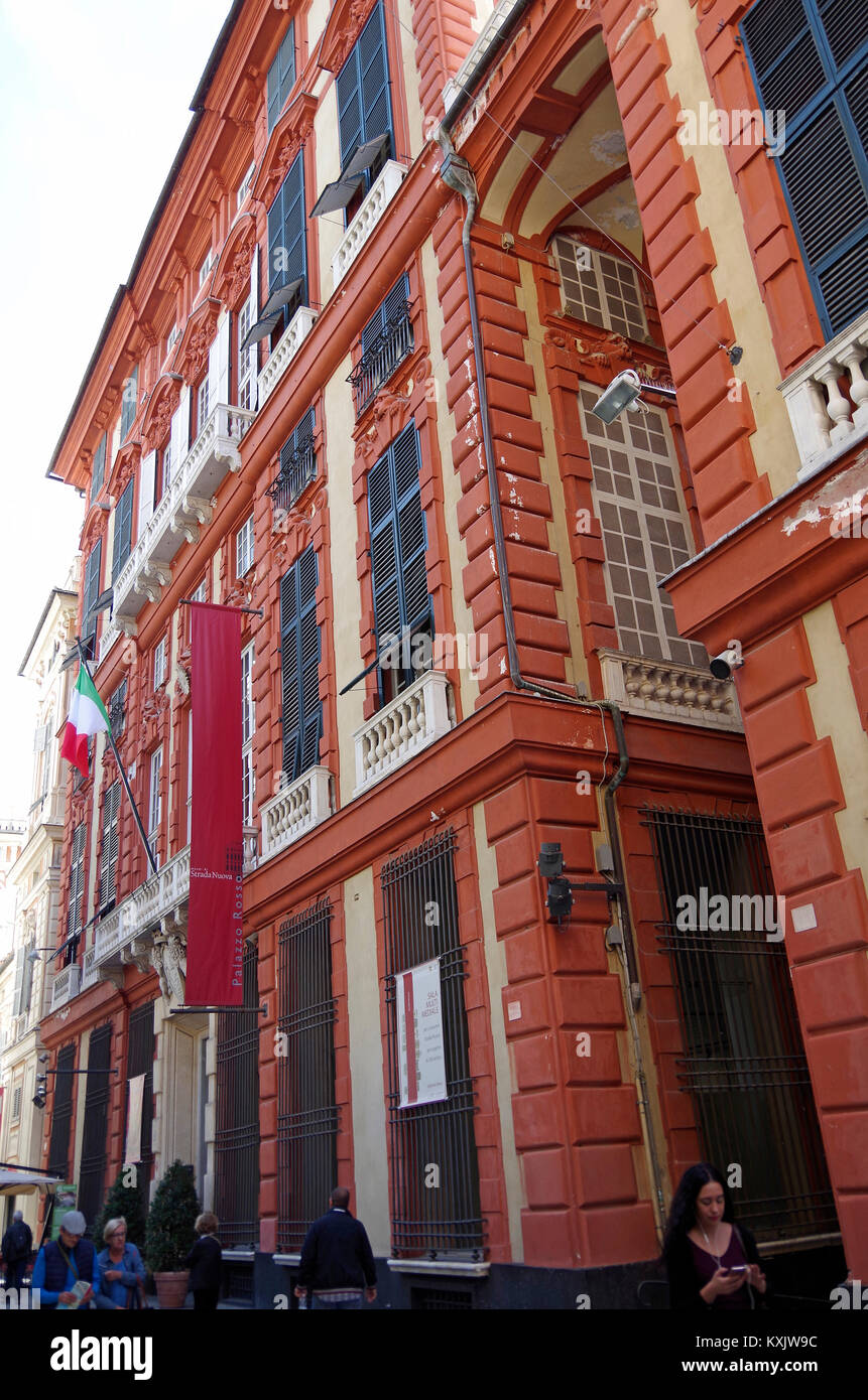 Oblique view of the facade of the Palazzo Rossi, the red palace, in the Via Garibaldi, a UNESCO World Heritage Site, - Stock Image