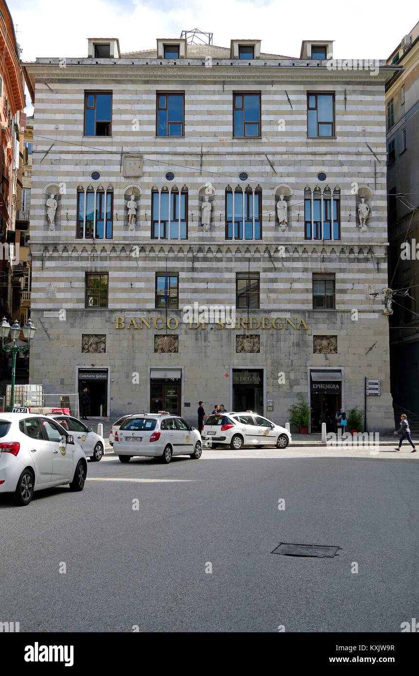 View of the main facade of the Palazzo Giacomo Spinola, in Genoa, Italy, one of the 42 palaces in the city's UNESCO - Stock Image